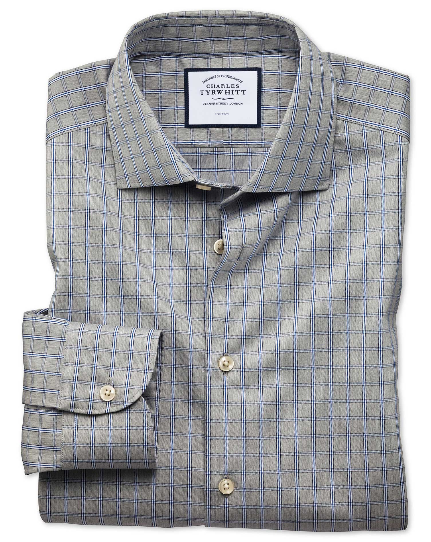 Classic Fit Business Casual Non-Iron Grey Windowpane Check Cotton Formal Shirt Single Cuff Size 18/3