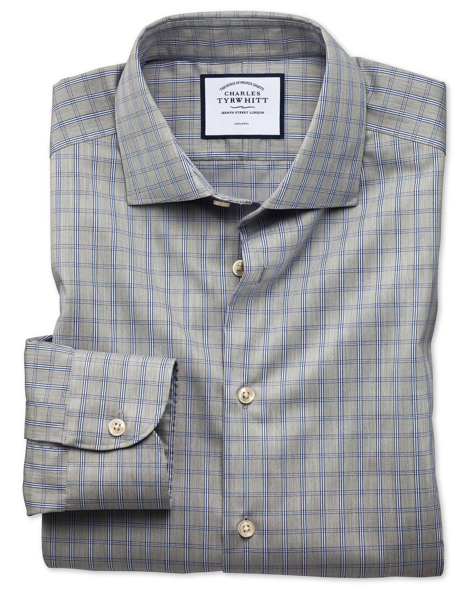 Slim Fit Business Casual Non-Iron Grey Windowpane Check Cotton Formal Shirt Single Cuff Size 17.5/38