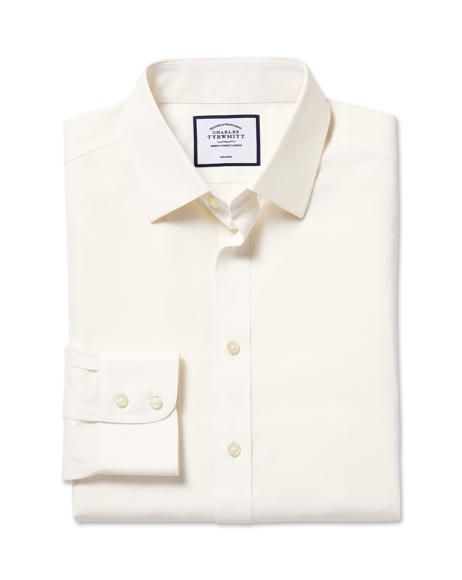 Slim Fit Non-Iron Poplin Cream Cotton Formal Shirt Single Cuff Size 17.5/34 by Charles Tyrwhitt