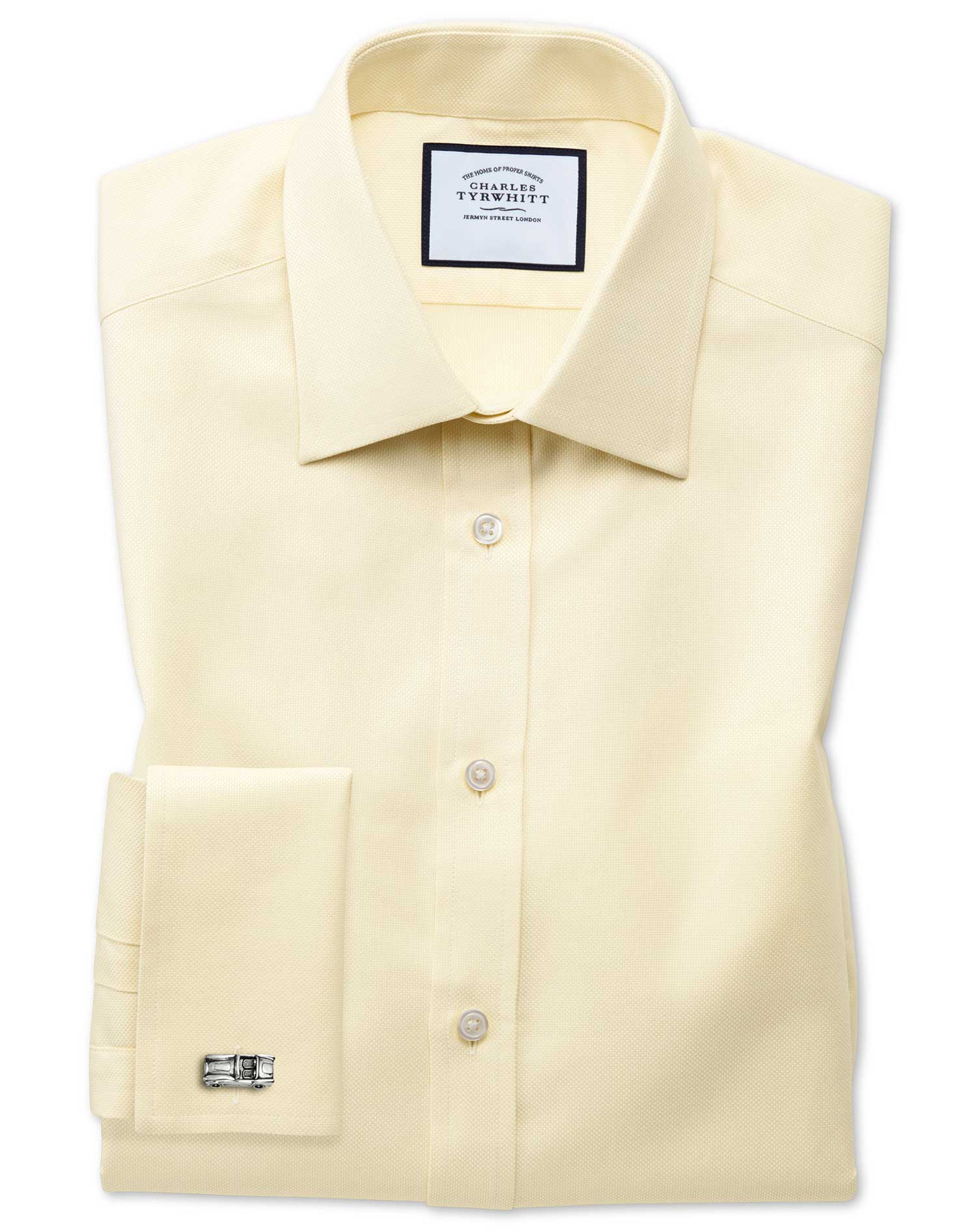 Extra Slim Fit Egyptian Cotton Royal Oxford Yellow Formal Shirt Double Cuff Size 15/33 by Charles Ty