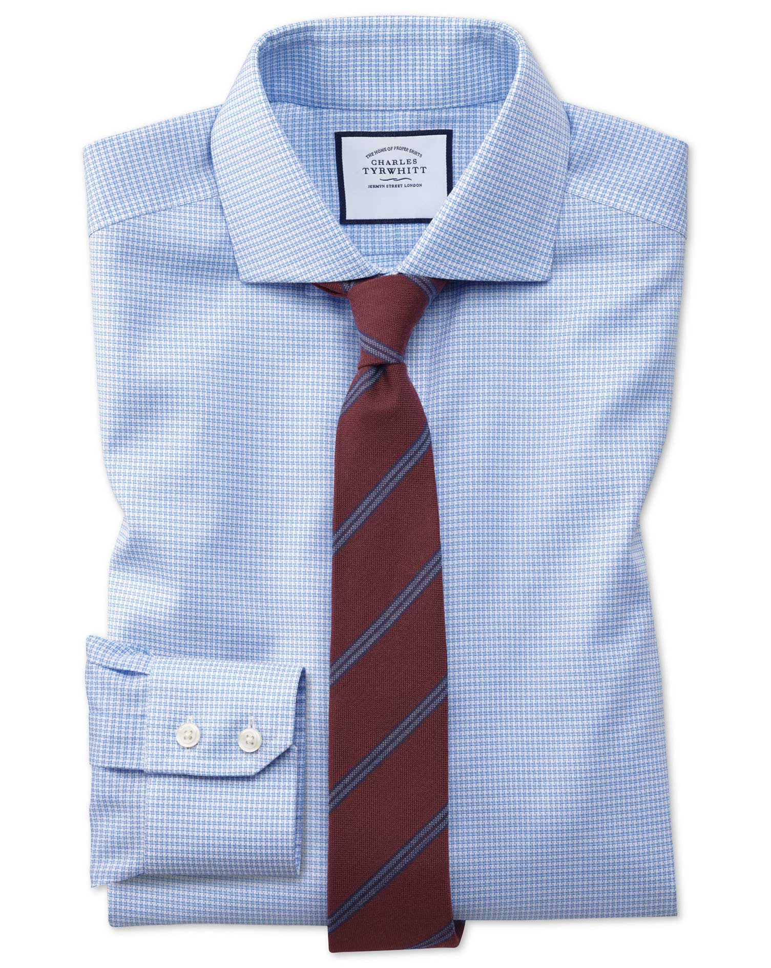 Extra Slim Fit Non-Iron Cutaway Collar Sky Blue Puppytooth Oxford Stretch Cotton Formal Shirt Single