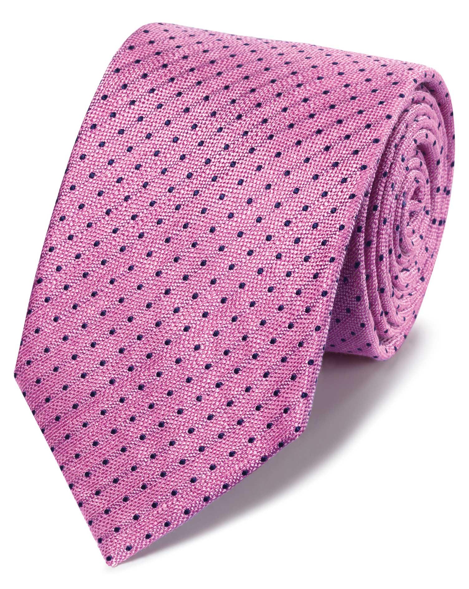 Pink Linen Silk Spot Classic Tie Size OSFA by Charles Tyrwhitt