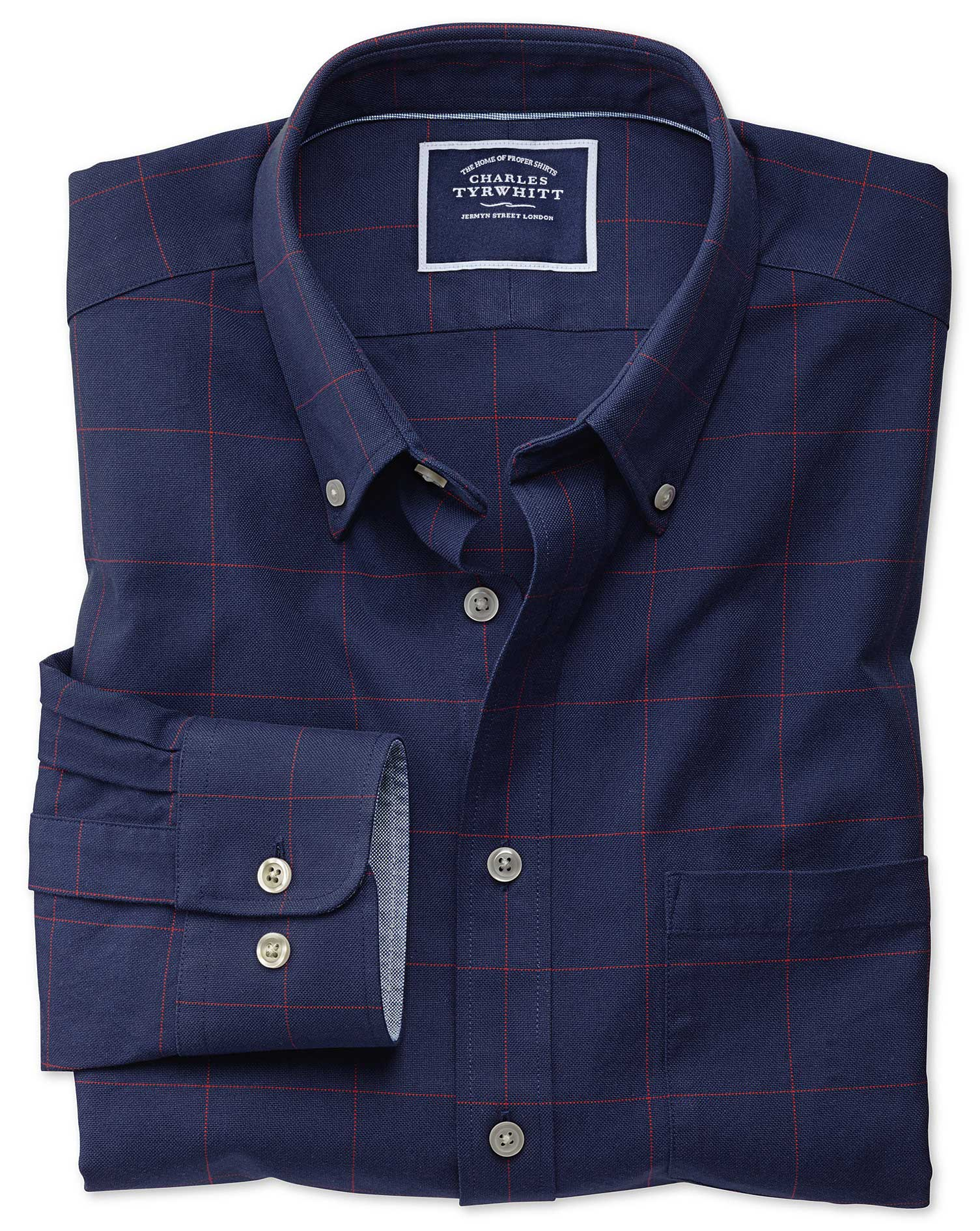 Slim Fit Navy and Red Check Washed Oxford Cotton Shirt Single Cuff Size Medium by Charles Tyrwhitt