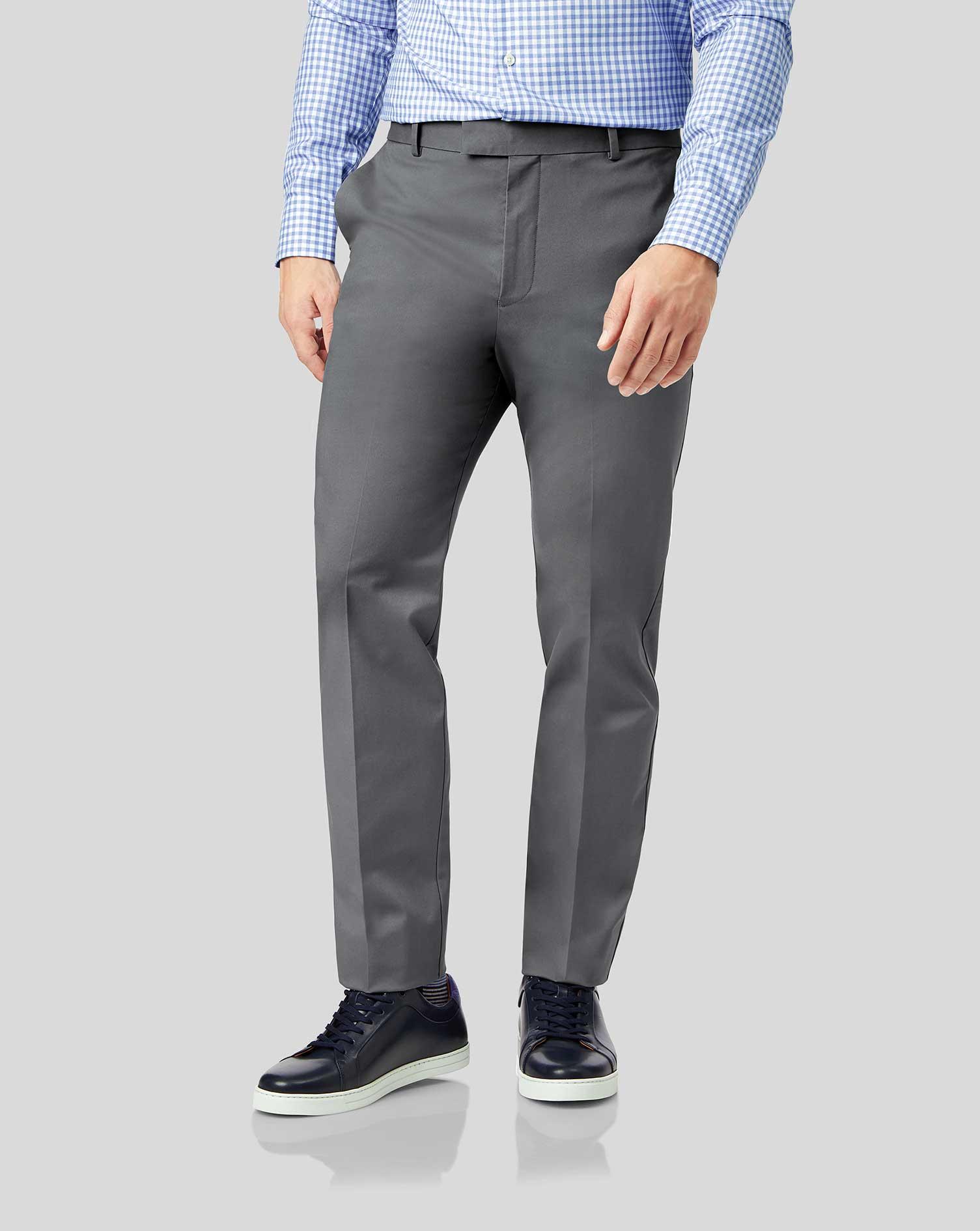 Cotton Grey Flat Front Non-Iron Chinos