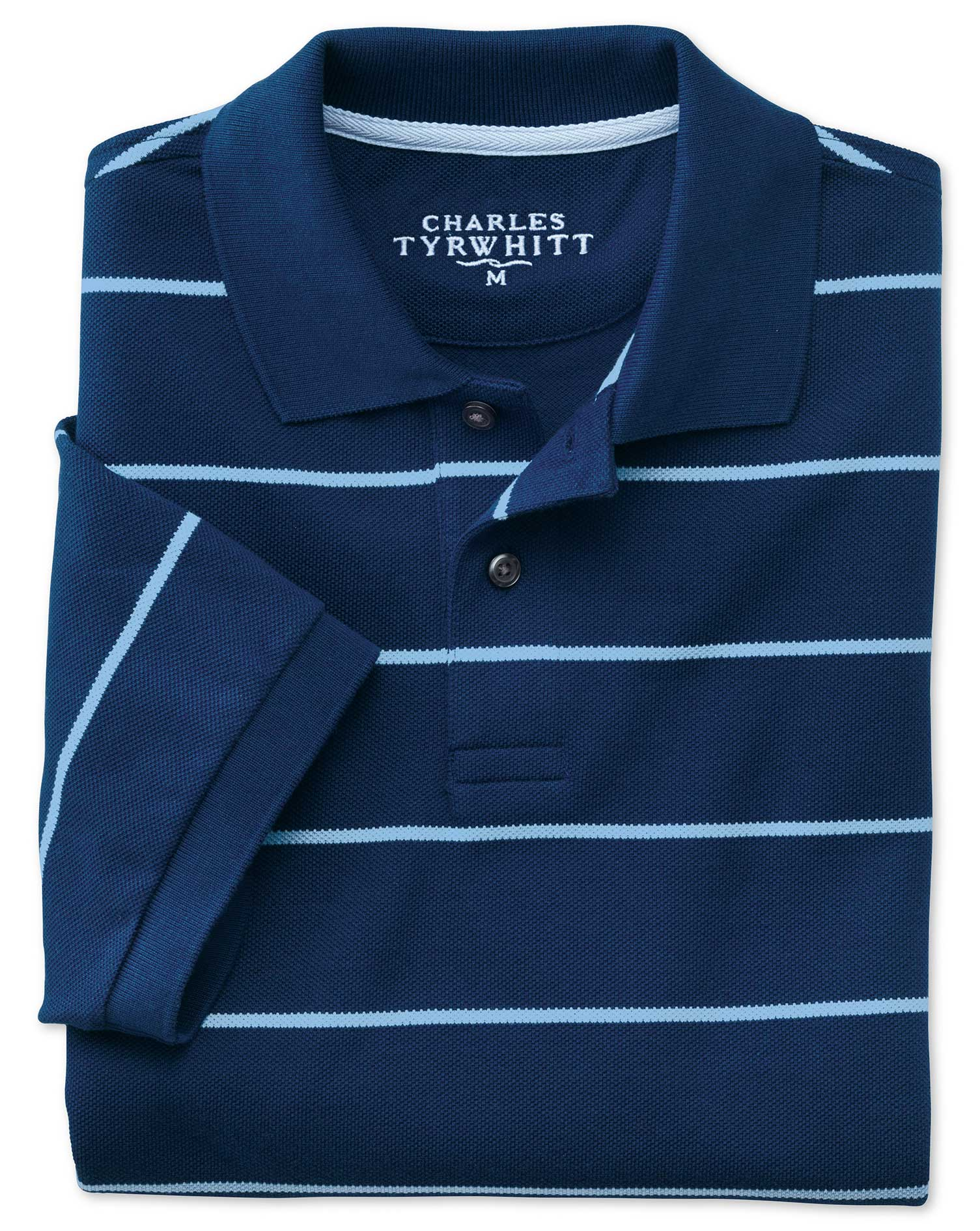 Blue and Sky Stripe Pique Cotton Polo Size XS by Charles Tyrwhitt