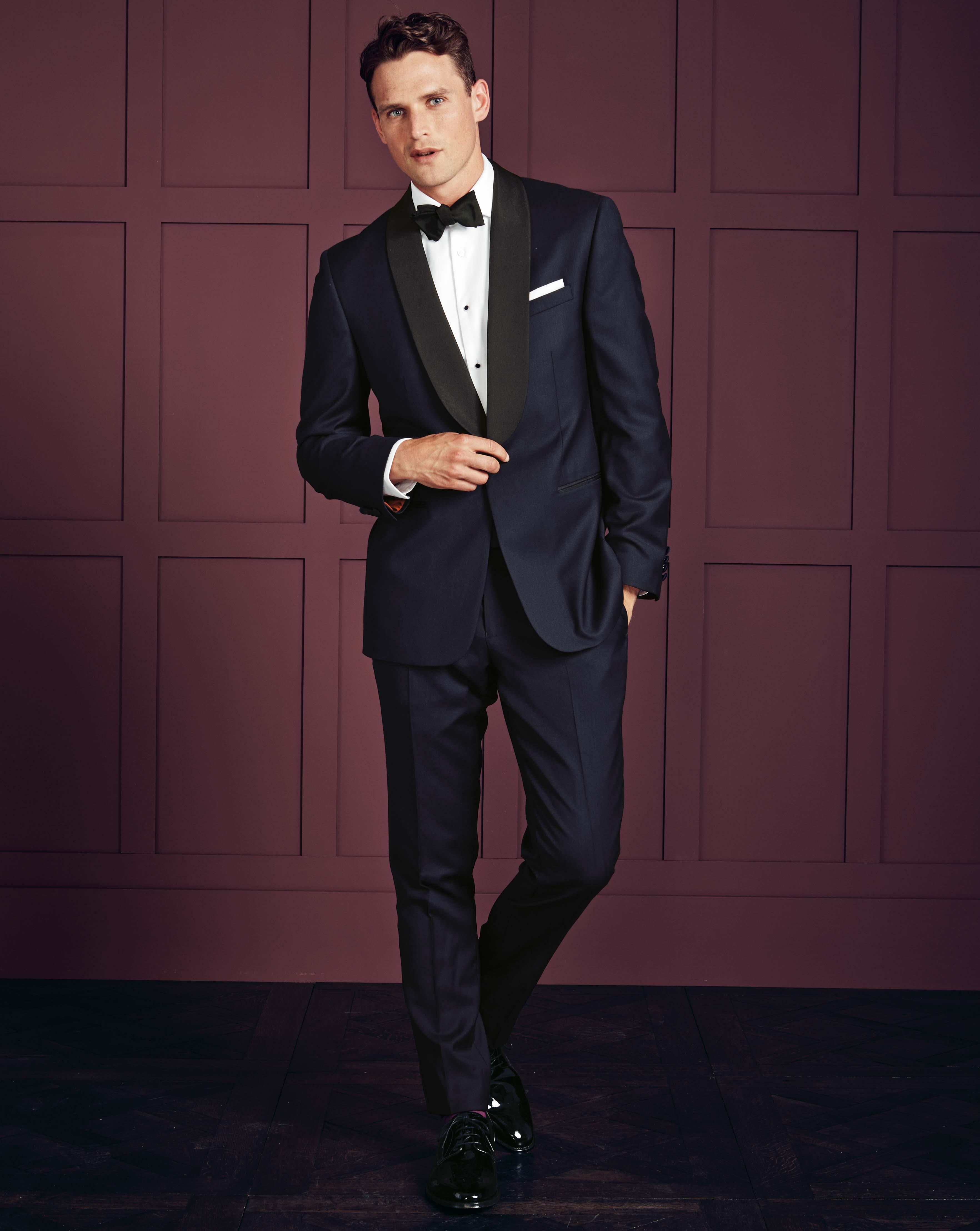Midnight blue slim fit shawl collar tuxedo jacket