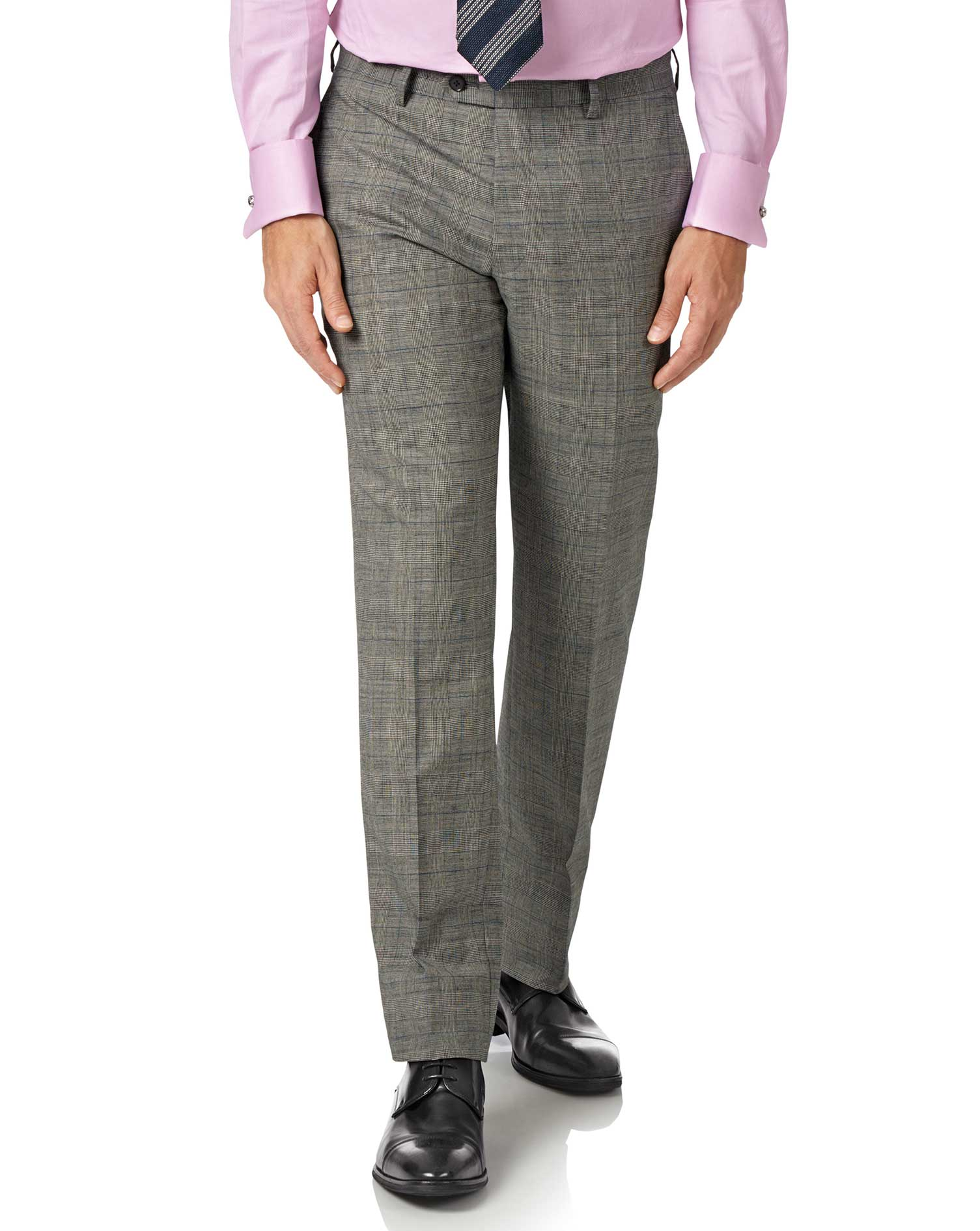 Grey Slim Fit Panama Prince Of Wales Check Business Suit Trousers Size W36 L32 by Charles Tyrwhitt