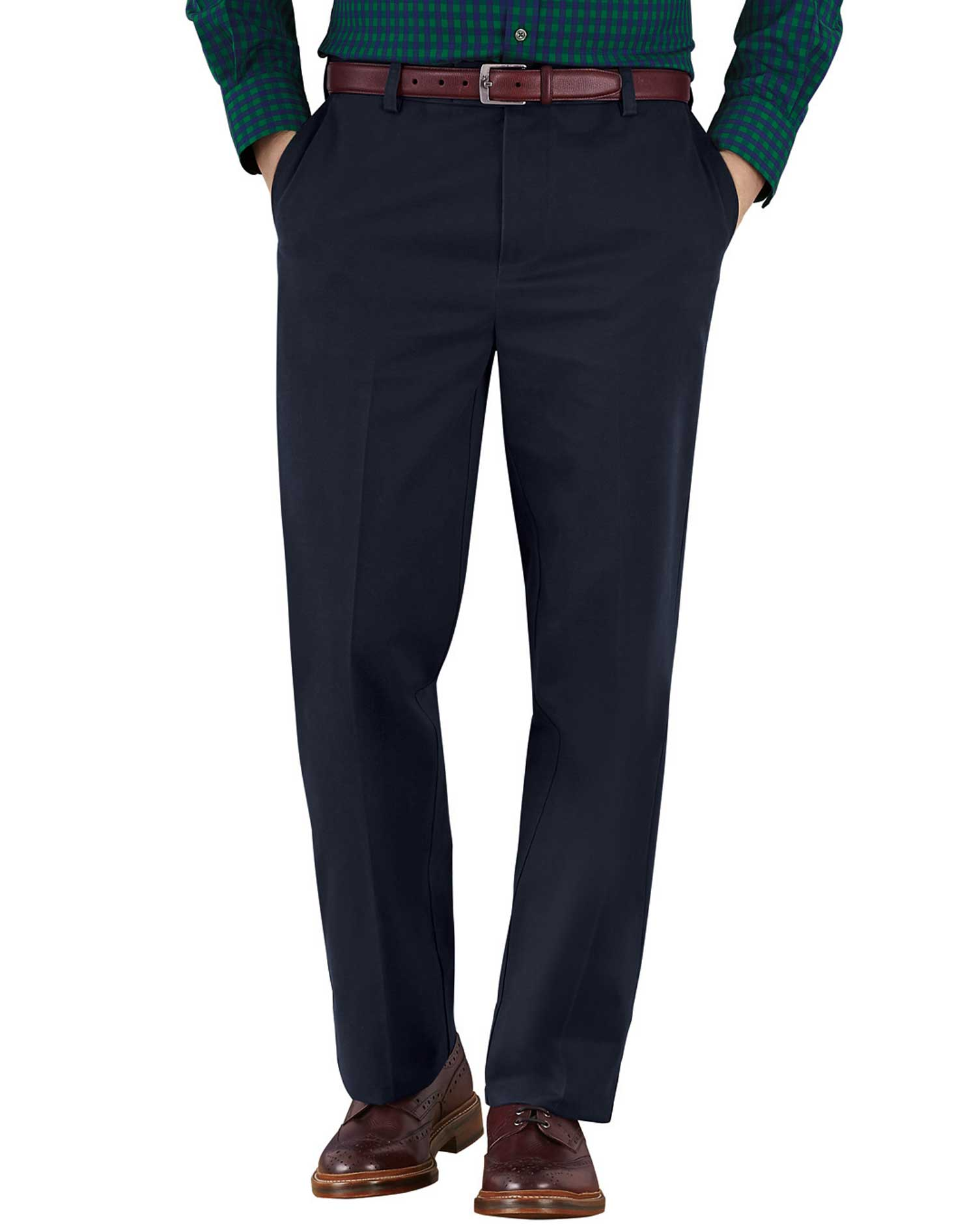Navy Classic Fit Flat Front Non-Iron Cotton Chino Trousers Size W32 L32 by Charles Tyrwhitt
