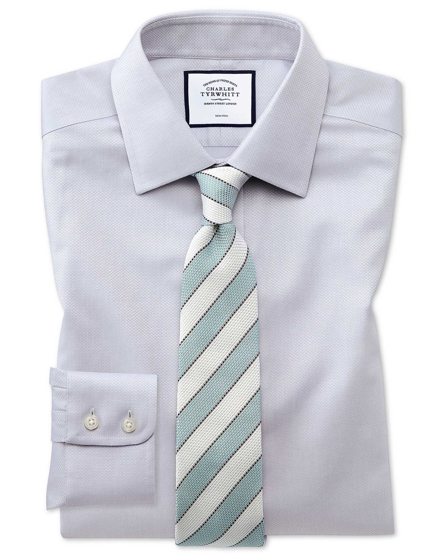 Classic Fit Non-Iron Grey Triangle Weave Cotton Formal Shirt Double Cuff Size 17/36 by Charles Tyrwh