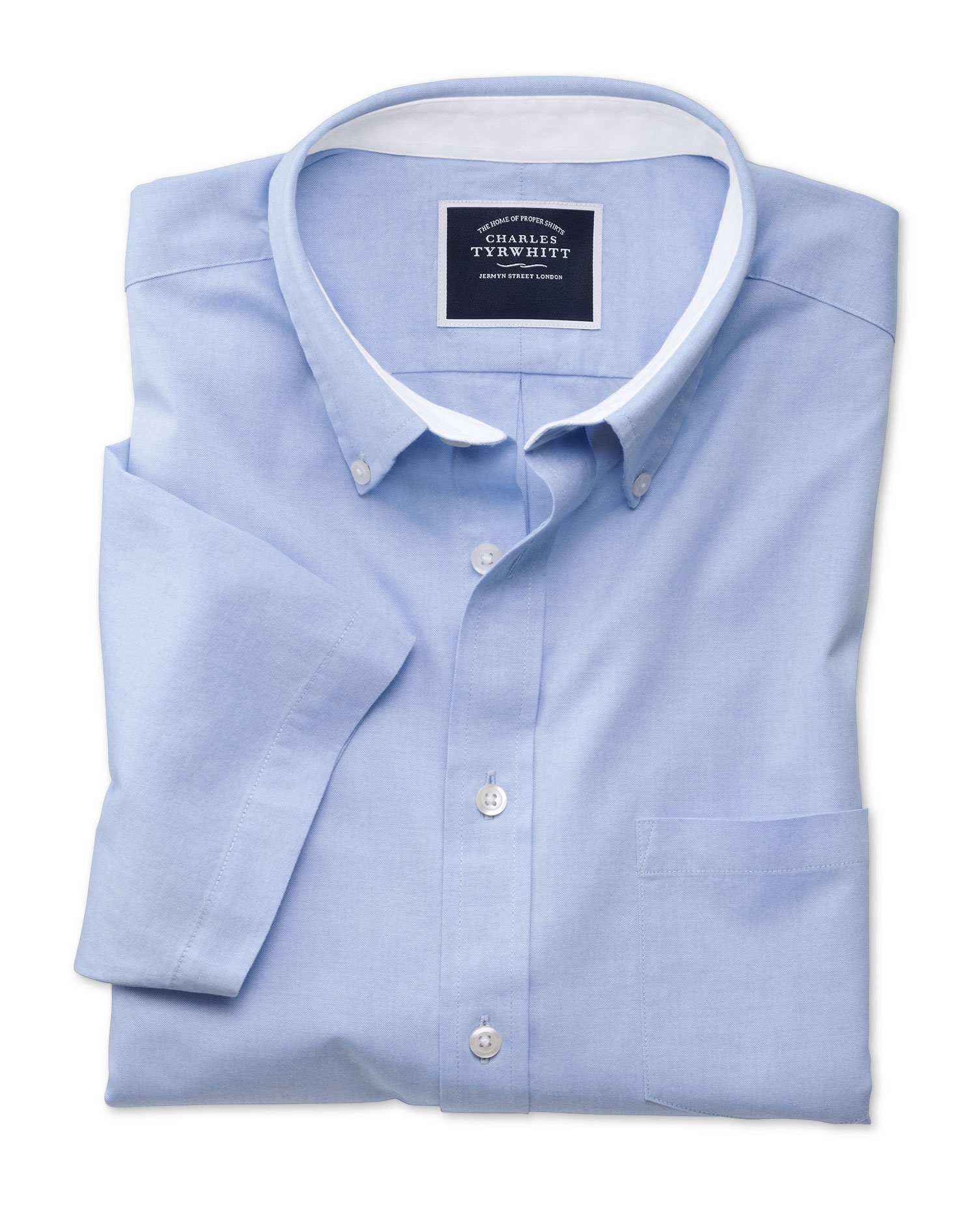 Slim Fit Button-Down Washed Oxford Short Sleeve Sky Blue Cotton Shirt Single Cuff Size Large by Char