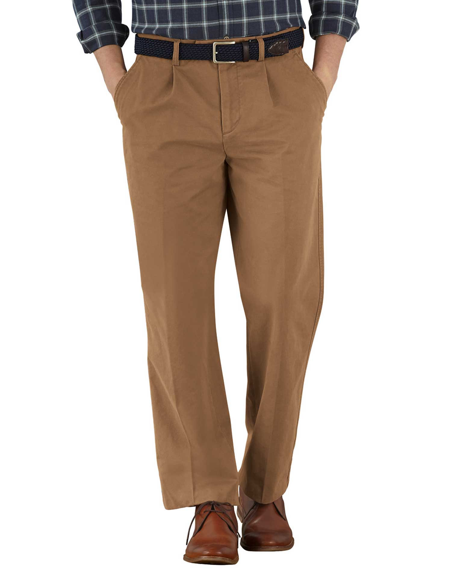 Camel Classic Fit Single Pleat Cotton Chino Trousers Size W40 L30 by Charles Tyrwhitt