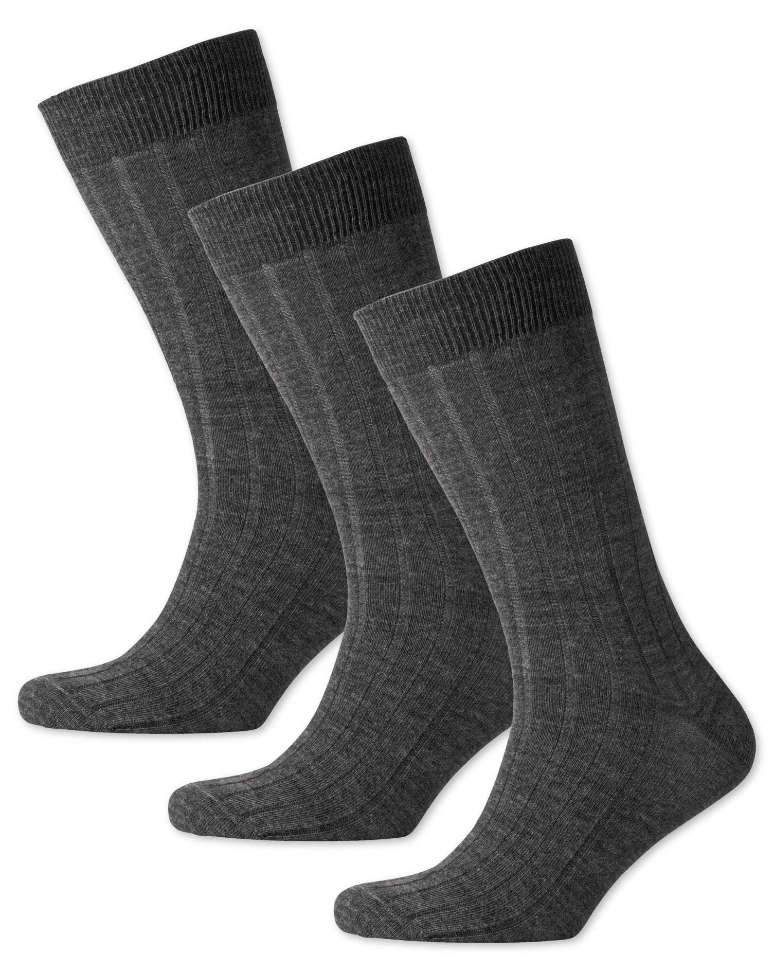 Grey Wool Rich 3 Pack Socks Size Large by Charles Tyrwhitt