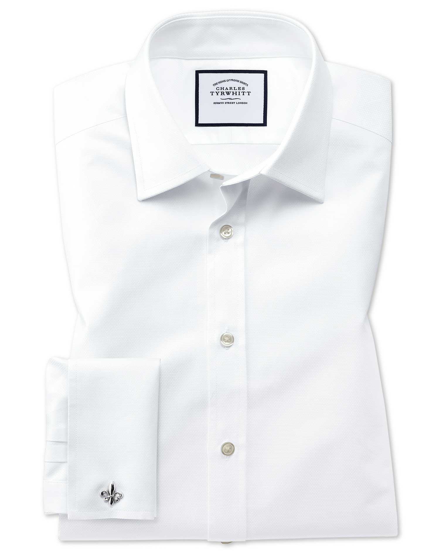 Classic Fit Egyptian Cotton Trellis Weave White Formal Shirt Double Cuff Size 18/35 by Charles Tyrwh