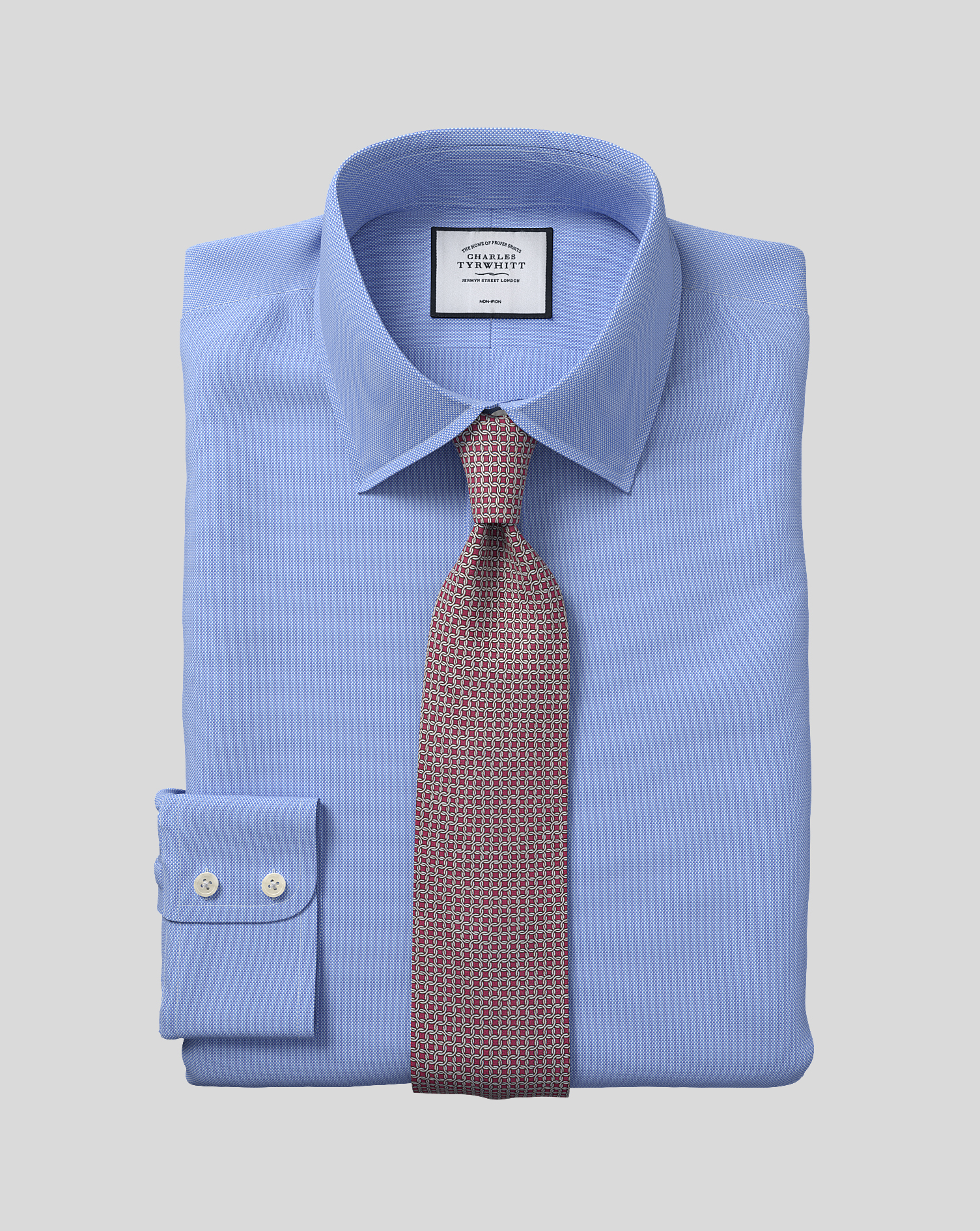 Slim Fit Non-Iron Blue Royal Panama Cotton Formal Shirt Double Cuff Size 16.5/33 by Charles Tyrwhitt