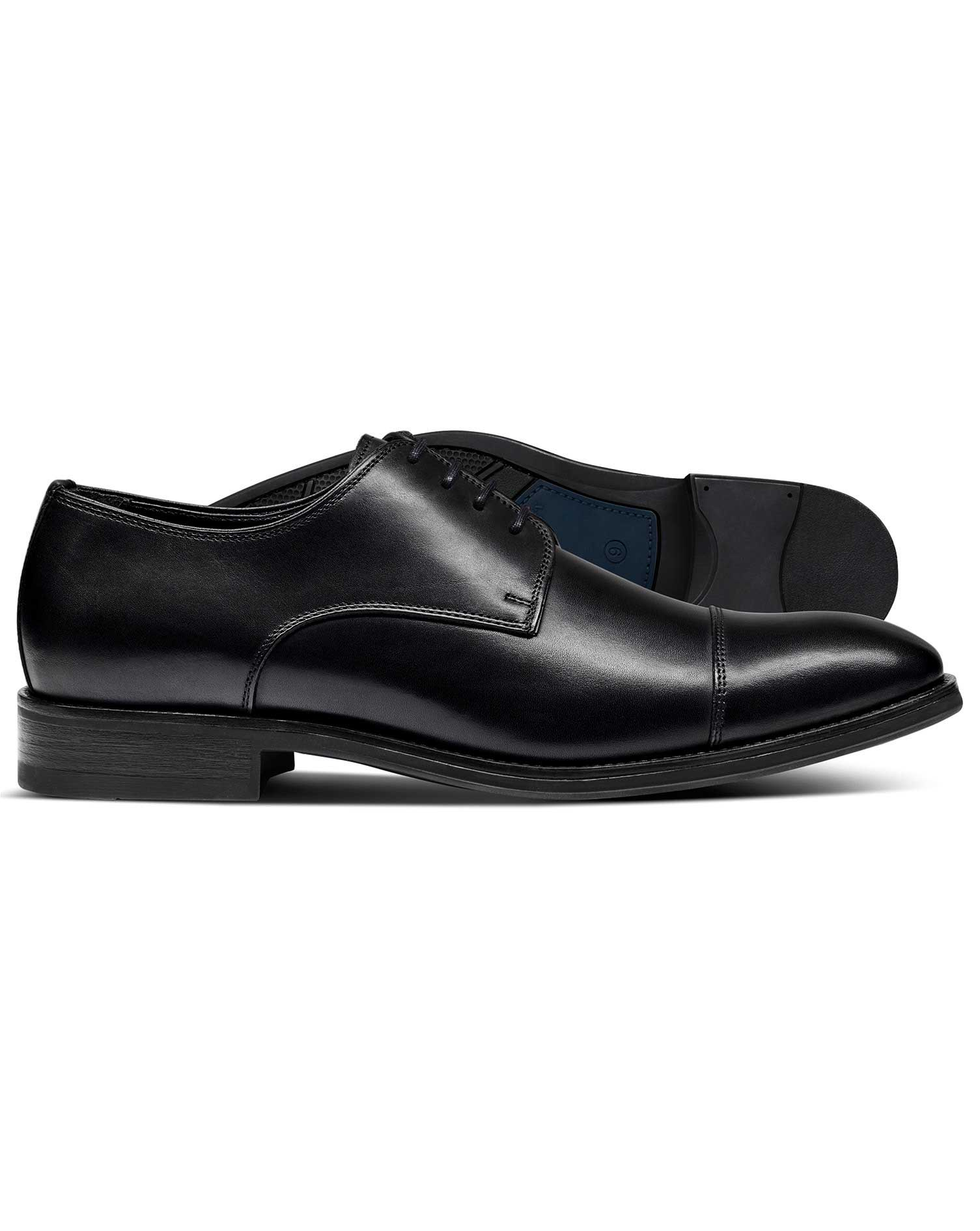 Black Performance Derby Toe Cap Shoes Size 6.5 R by Charles Tyrwhitt