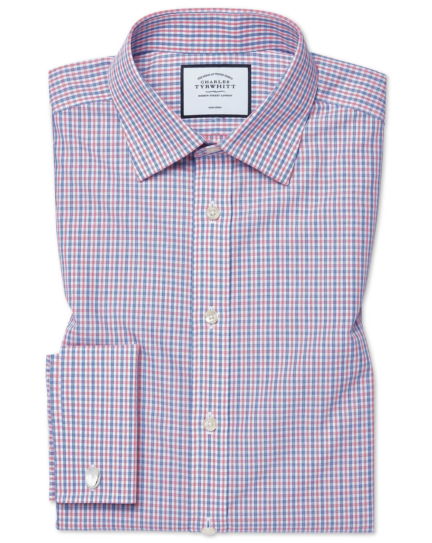 Slim Fit Non-Iron Poplin Blue and Red Cotton Formal Shirt Double Cuff Size 15/35 by Charles Tyrwhitt