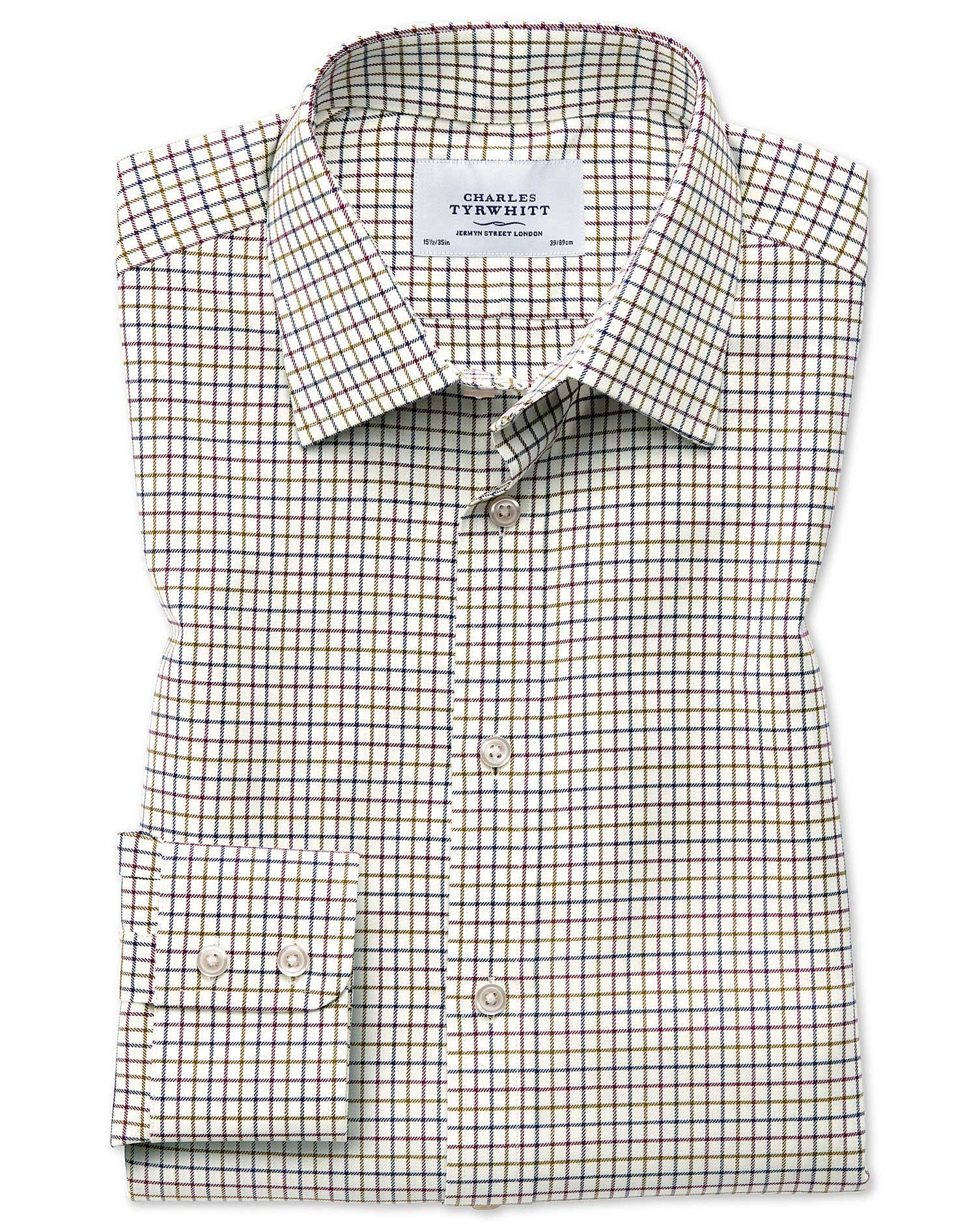Slim Fit Country Check Purple and Green Cotton Formal Shirt Single Cuff Size 17.5/34 by Charles Tyrw