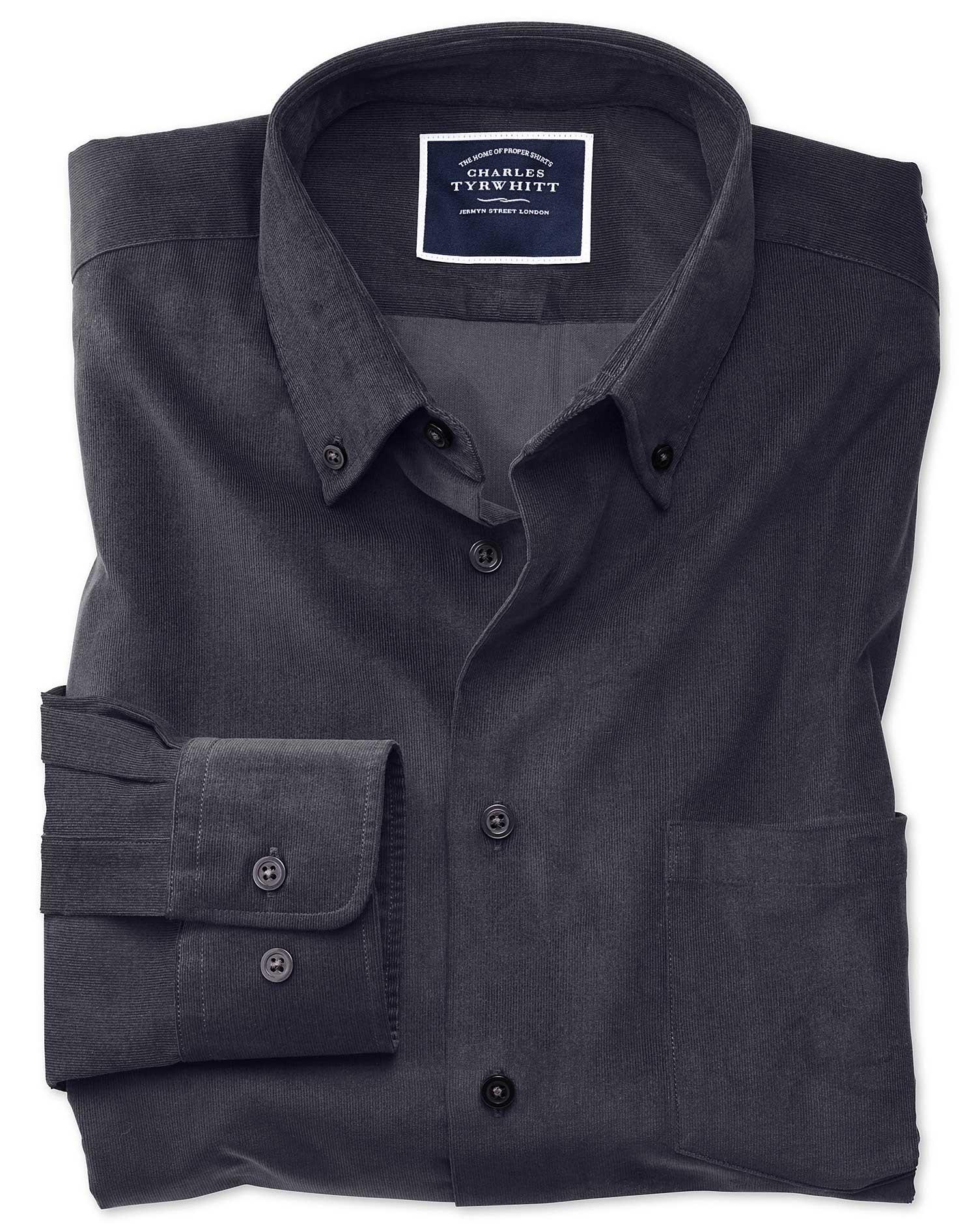 Classic Fit Plain Charcoal Fine Corduroy Cotton Shirt Single Cuff Size XL by Charles Tyrwhitt