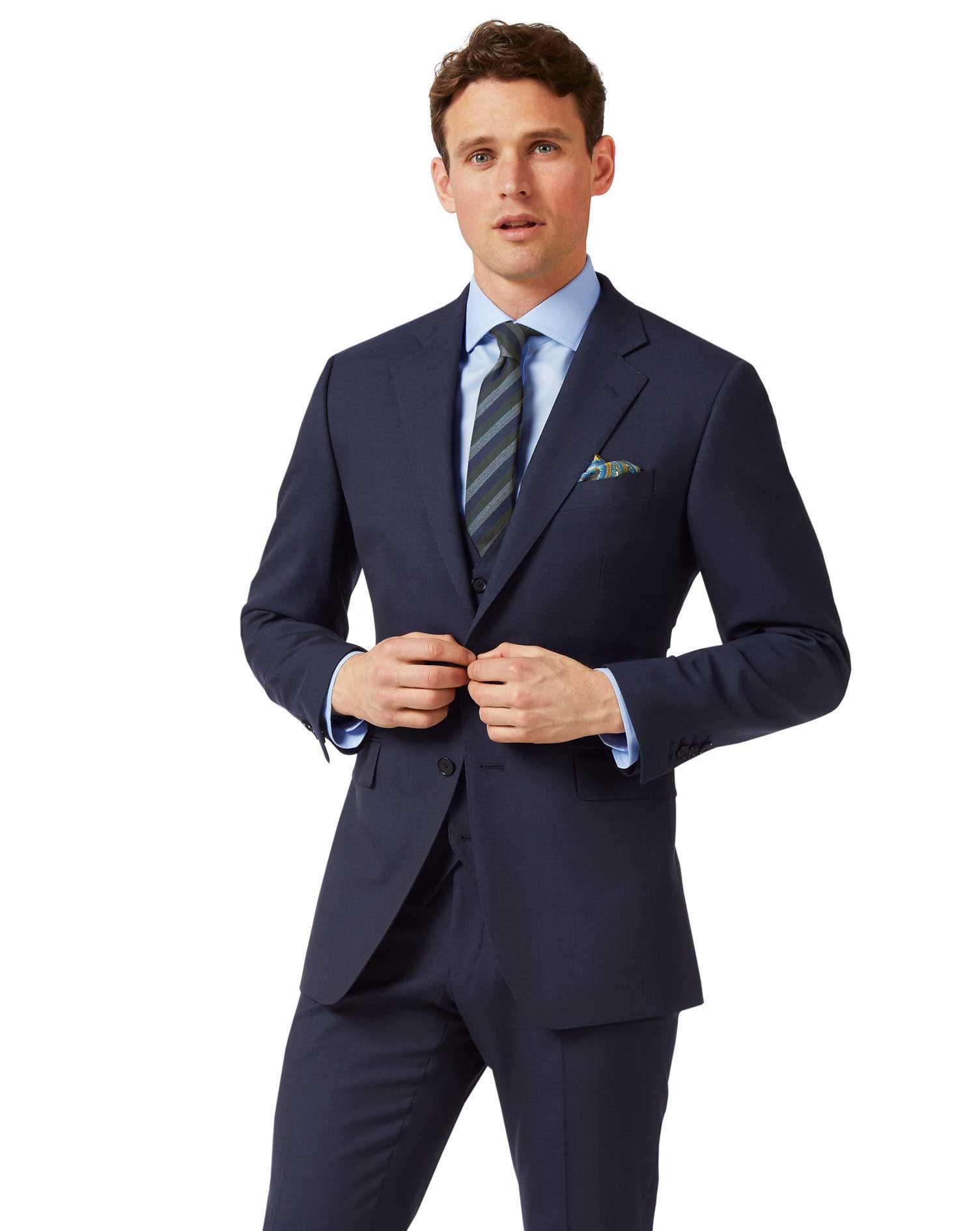 Wool Navy Slim Fit Sharkskin Travel Suit Jacket