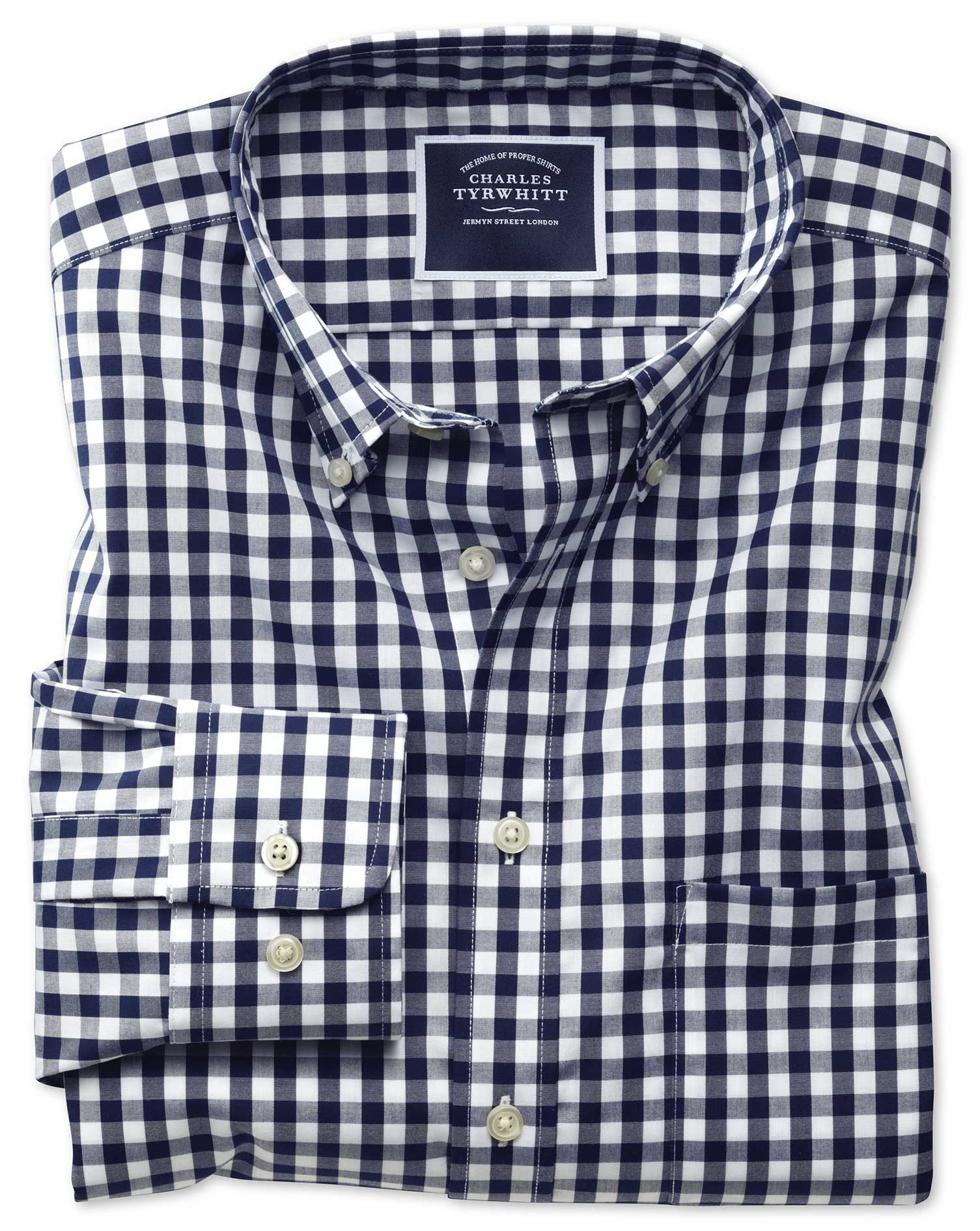 Slim Fit Button-Down Non-Iron Poplin Navy Gingham Cotton Shirt Single Cuff Size Small by Charles Tyr