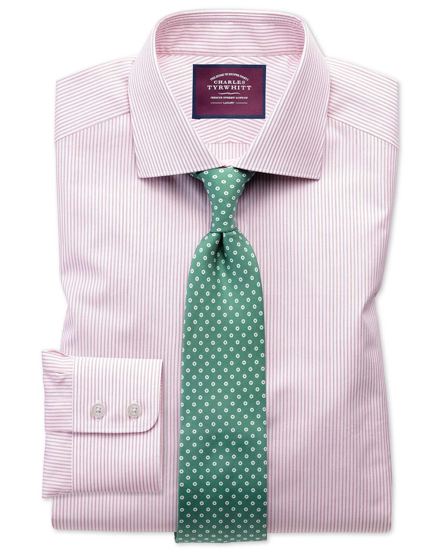 Classic Fit Semi-Cutaway Luxury Poplin Red and White Egyptian Cotton Formal Shirt Single Cuff Size 1