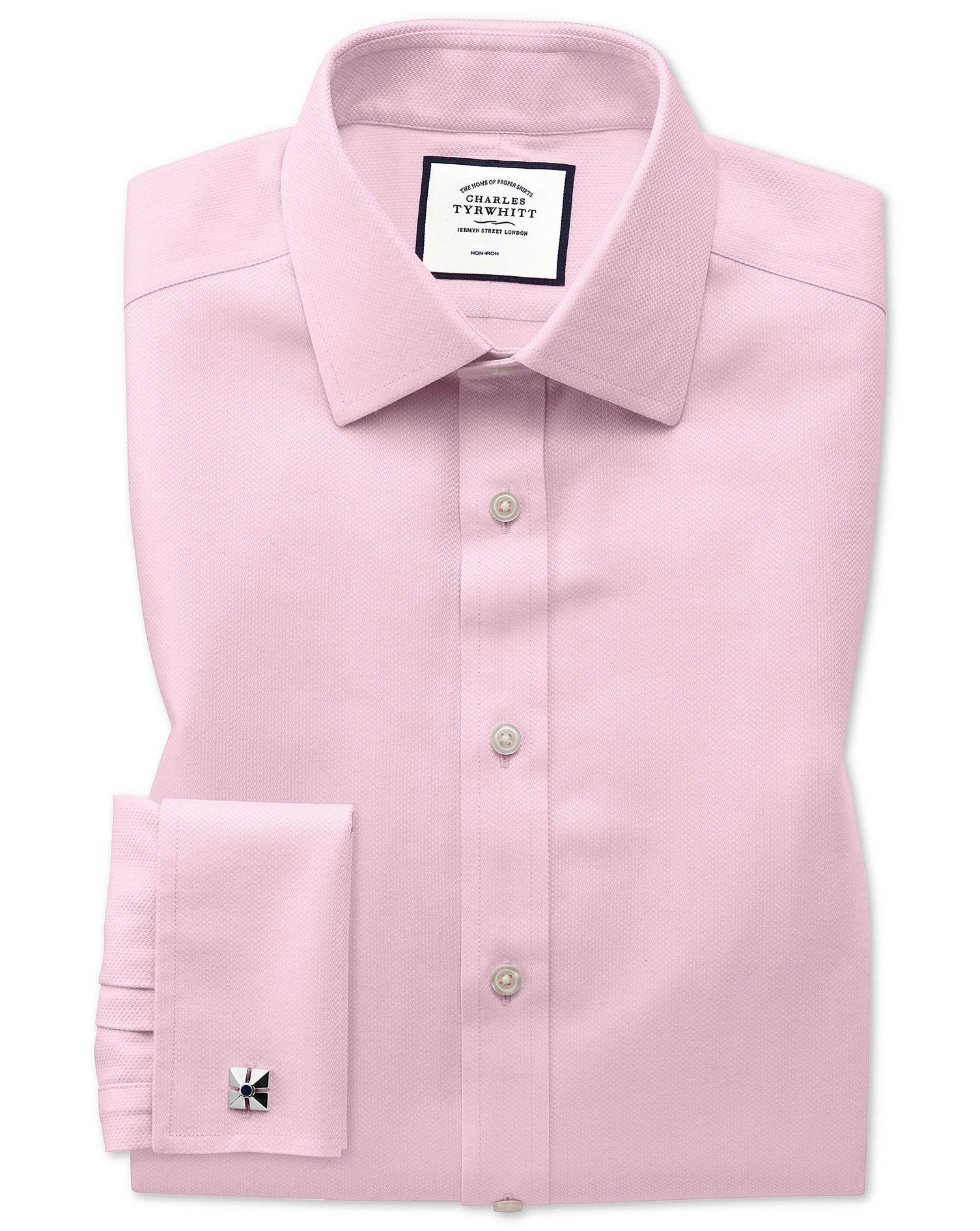 Extra Slim Fit Non-Iron Pink Arrow Weave Cotton Formal Shirt Single Cuff Size 16.5/35 by Charles Tyr