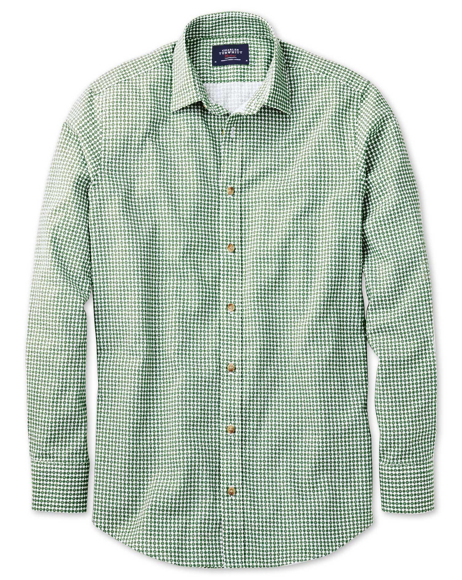 Classic Fit Green Geometric Print Shirt Single Cuff Size Large by Charles Tyrwhitt