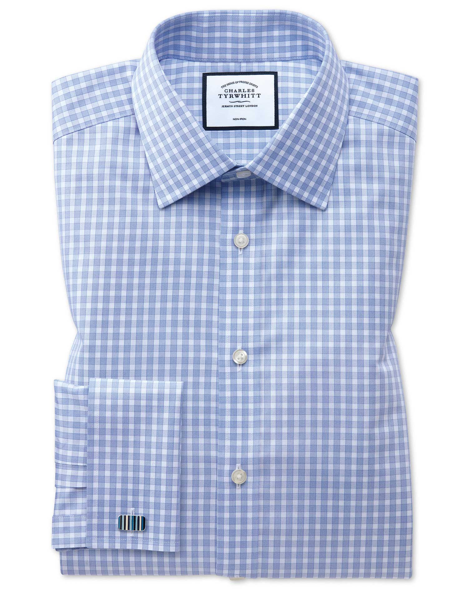Classic Fit Non-Iron Twill Gingham Sky Blue Cotton Formal Shirt Single Cuff Size 17/38 by Charles Ty