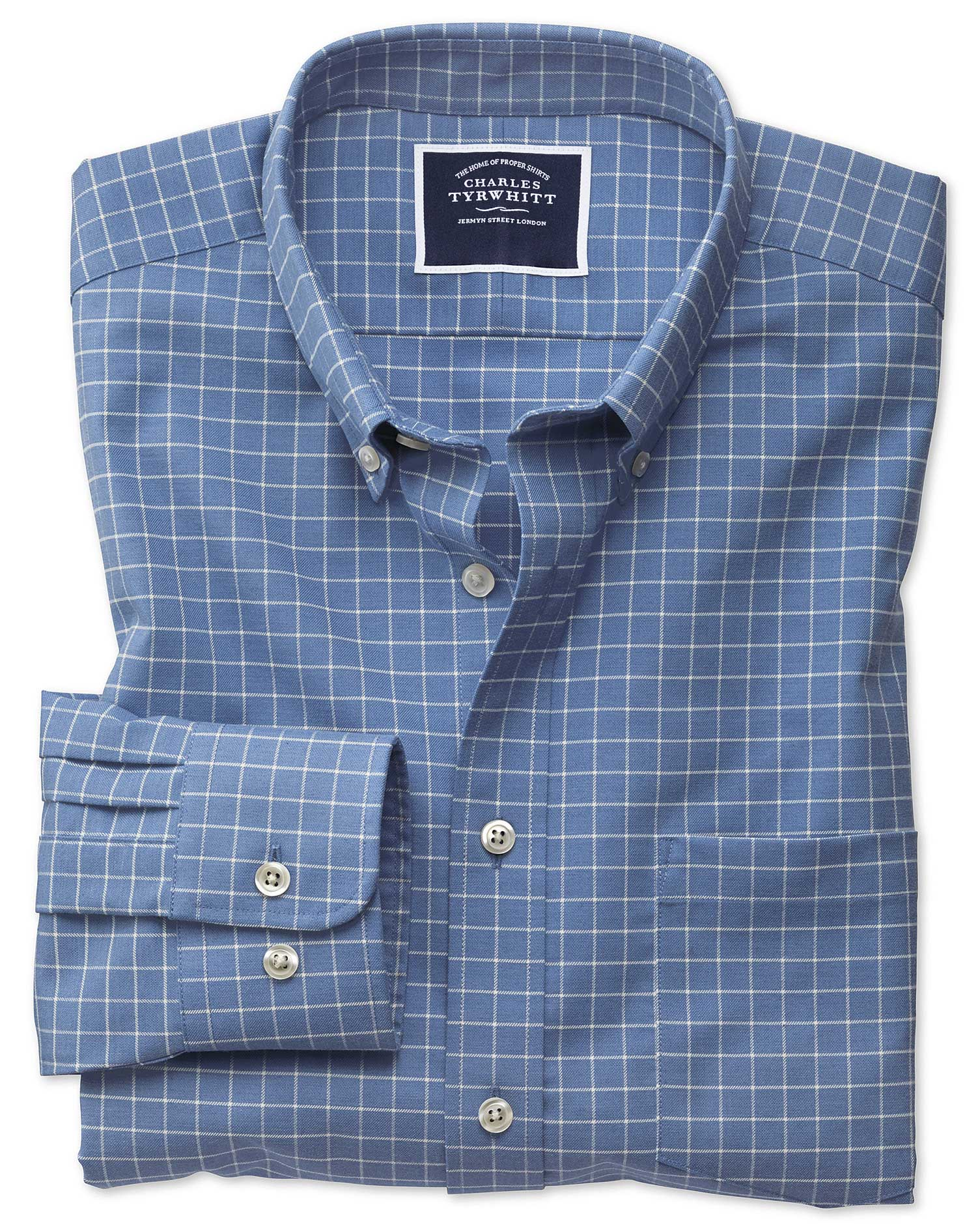 Classic Fit Non-Iron Sky Blue Grid Check Twill Cotton Shirt Single Cuff Size XXXL by Charles Tyrwhit