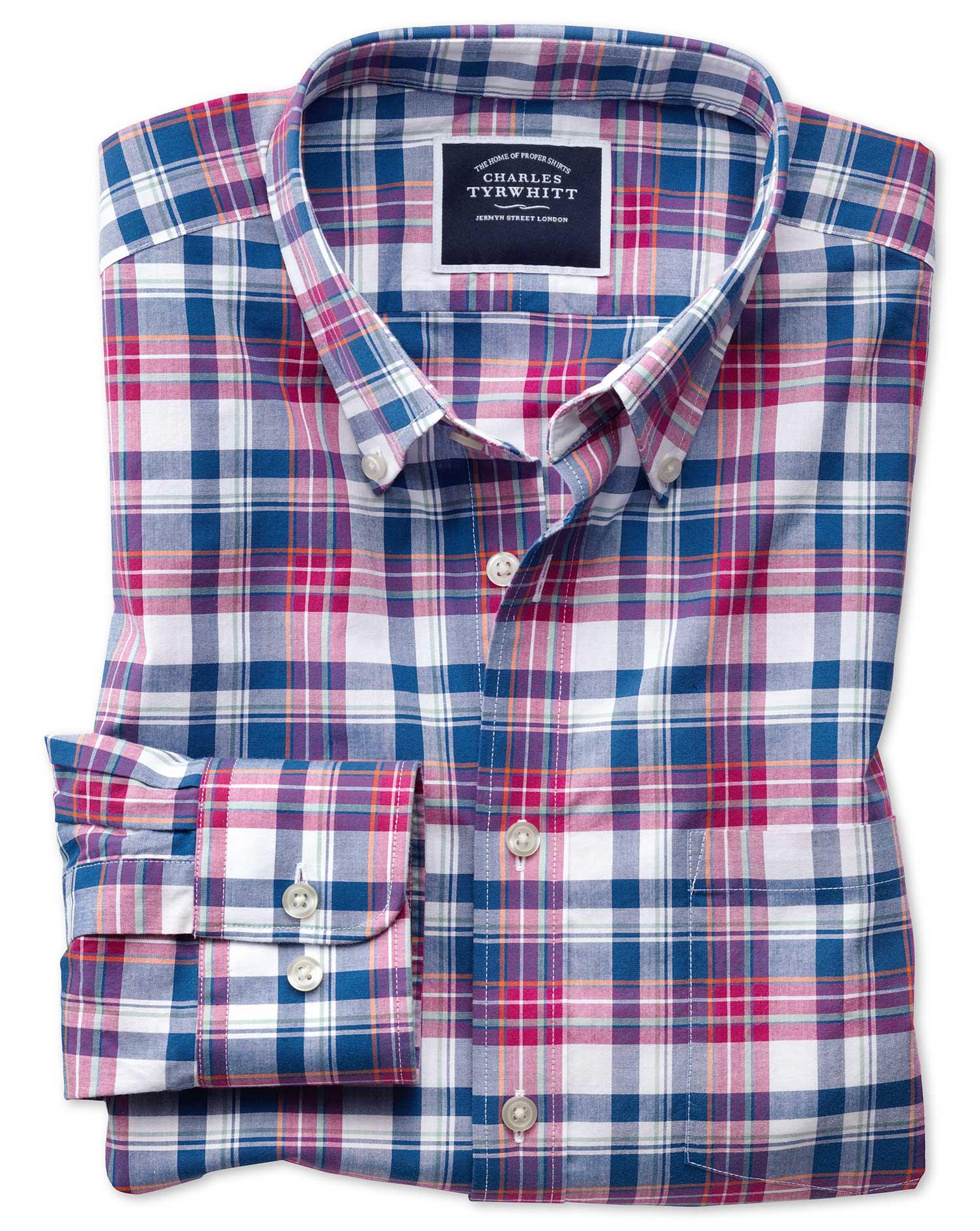 Slim Fit Poplin Pink and Navy Cotton Shirt Single Cuff Size XS by Charles Tyrwhitt