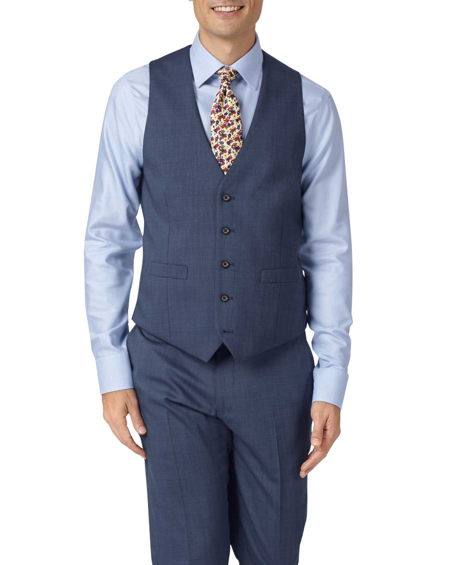Light Blue Adjustable Fit Step Weave Suit Waistcoat Size w42 by Charles Tyrwhitt