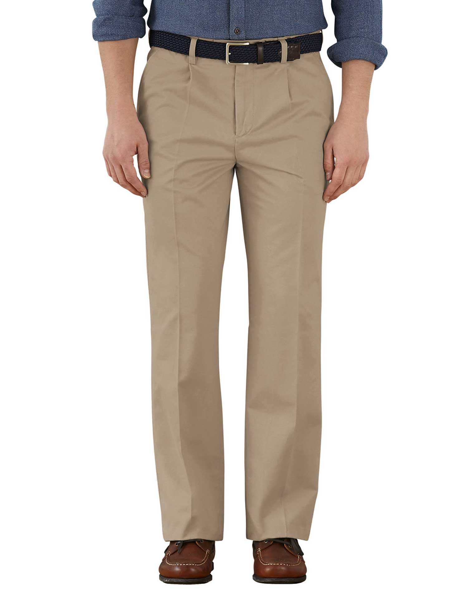 Stone Classic Fit Single Pleat Weekend Cotton Chino Trousers Size W36 L34 by Charles Tyrwhitt