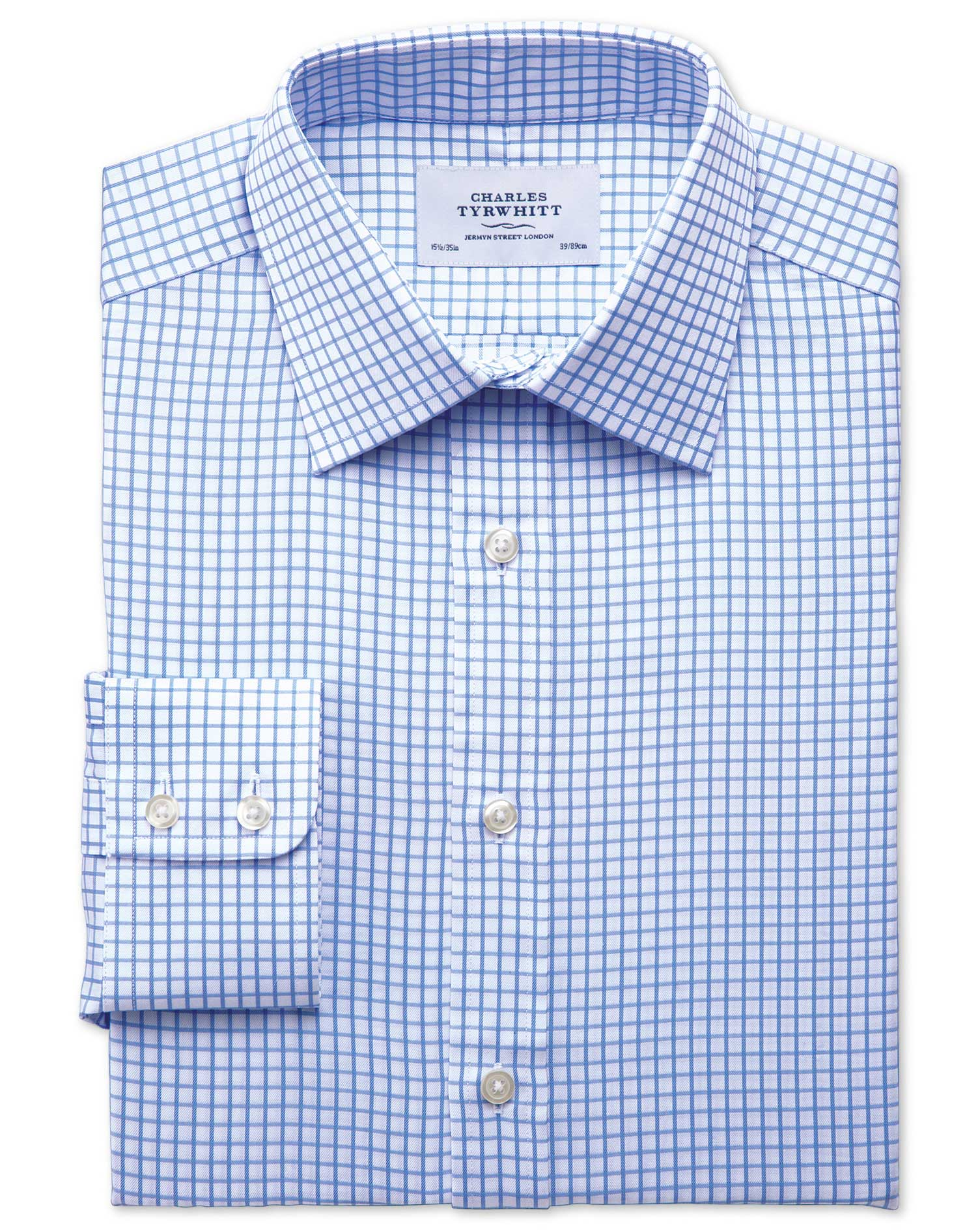 Classic Fit Twill Grid Check Sky Blue Cotton Formal Shirt Single Cuff Size 15/35 by Charles Tyrwhitt