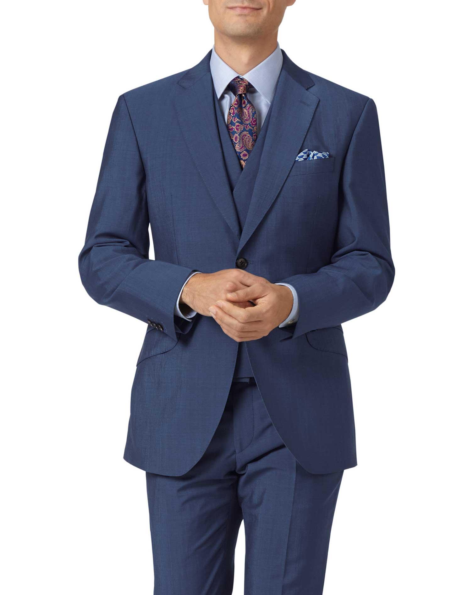 Blue Slim Fit Italian Wool Luxury Suit Viscose Jacket Size 38 Short by Charles Tyrwhitt
