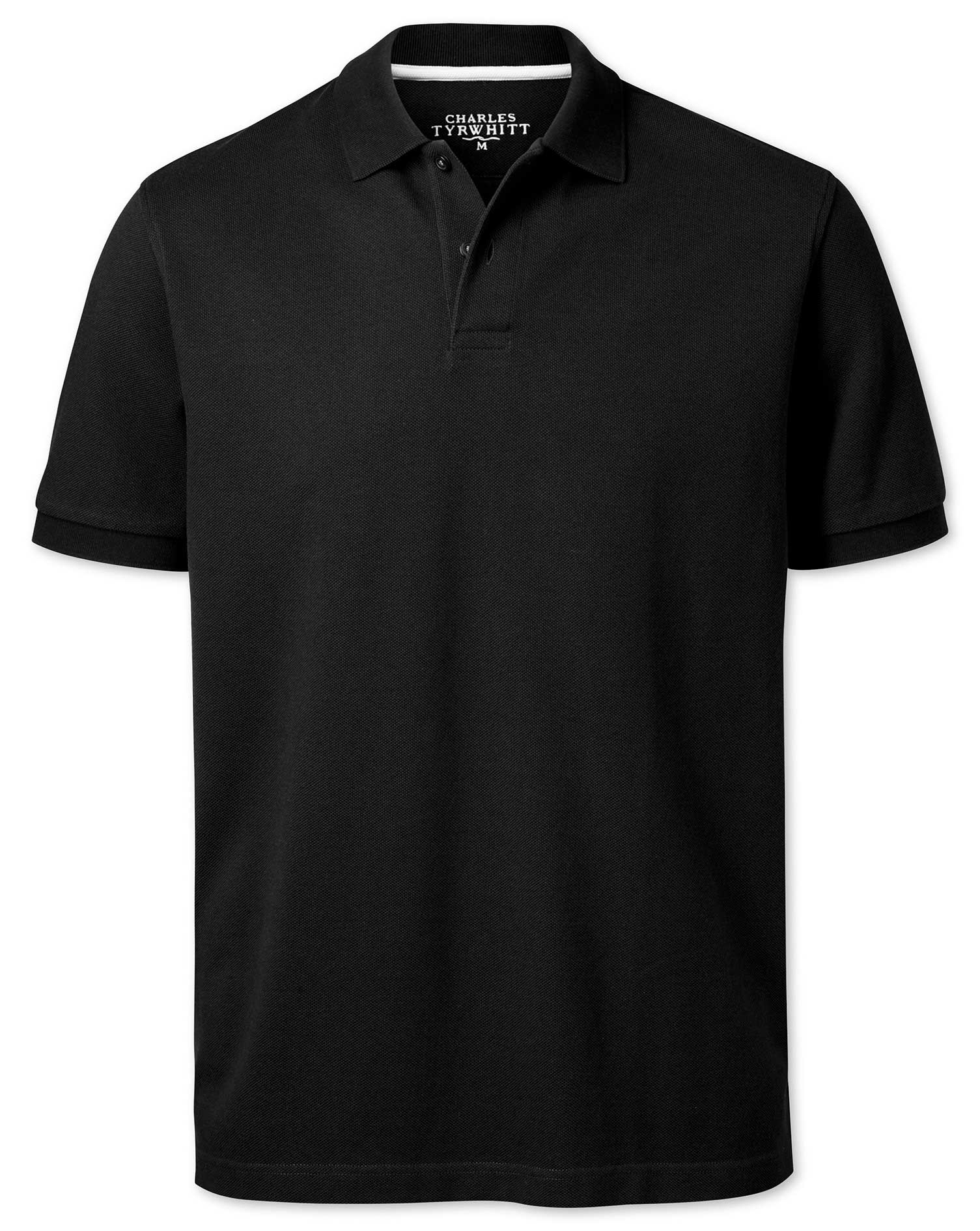 Black Pique Cotton Polo Size Small by Charles Tyrwhitt