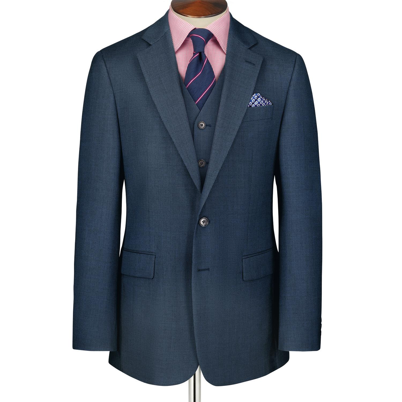 Mid Blue Classic Fit Birdseye Business Suit Wool Jacket Size 36 Regular by Charles Tyrwhitt