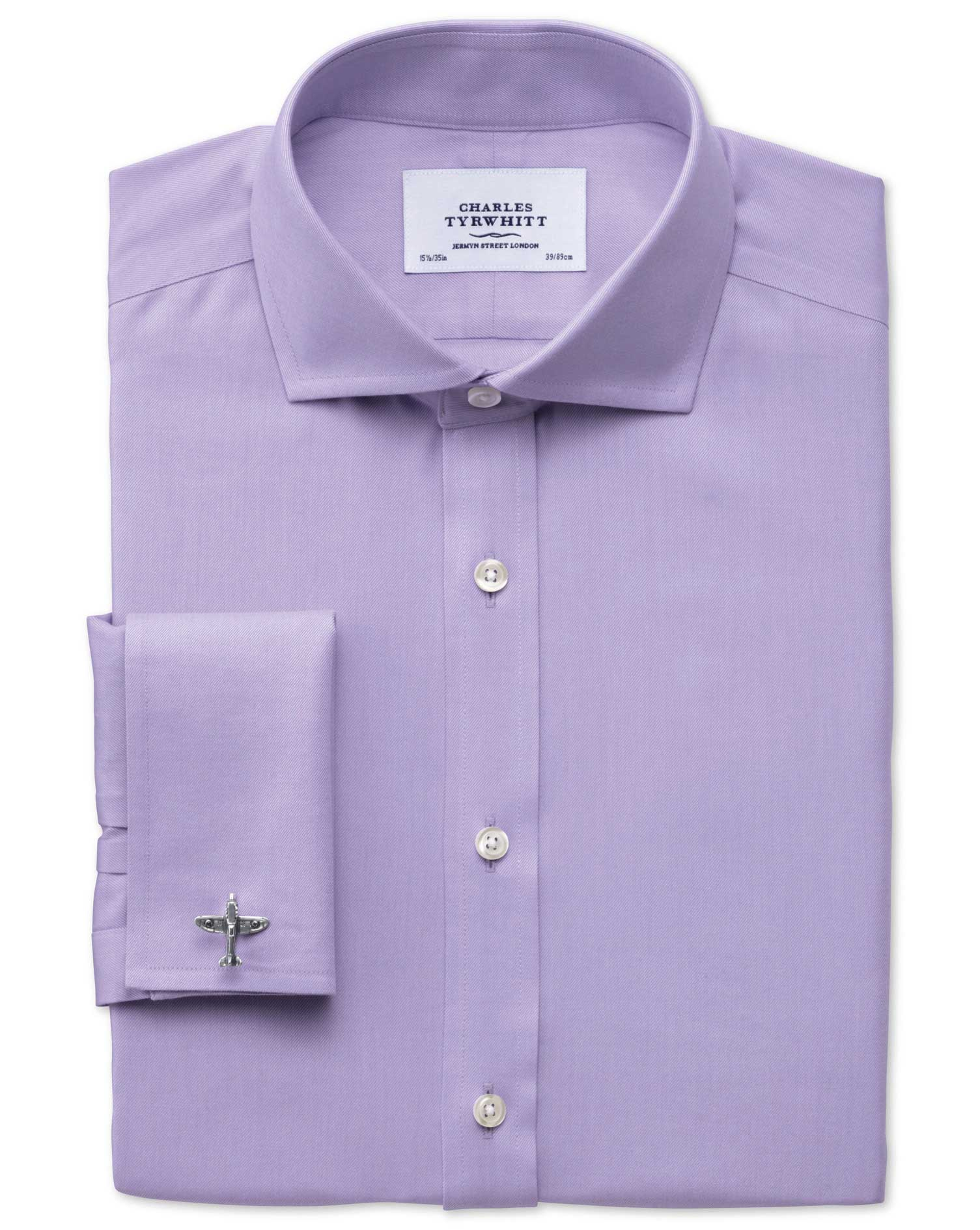 Slim Fit Cutaway Collar Non-Iron Twill Lilac Cotton Formal Shirt Double Cuff Size 16/35 by Charles T
