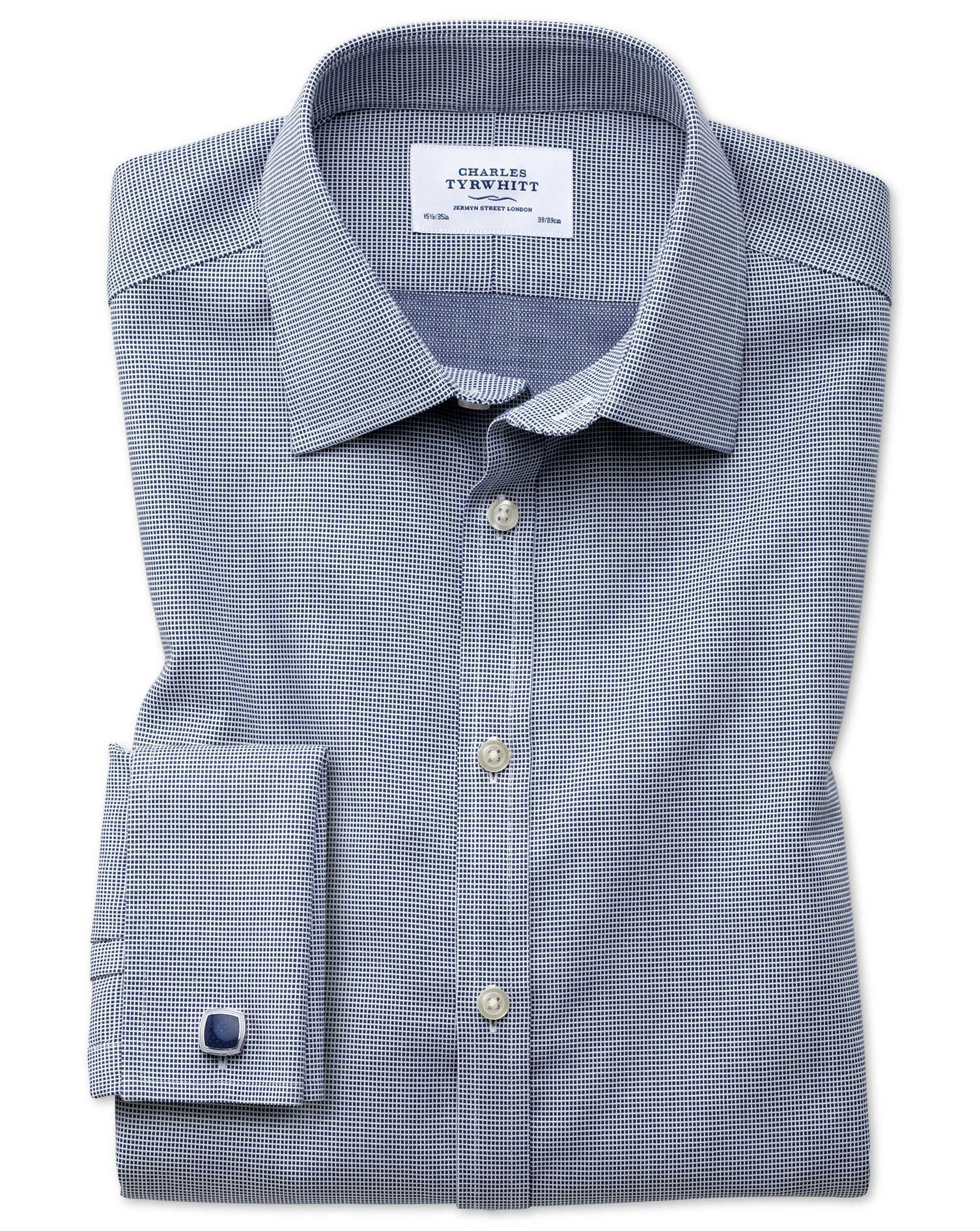 Slim Fit Non-Iron Square Weave Navy Blue Cotton Formal Shirt Double Cuff Size 17/34 by Charles Tyrwh