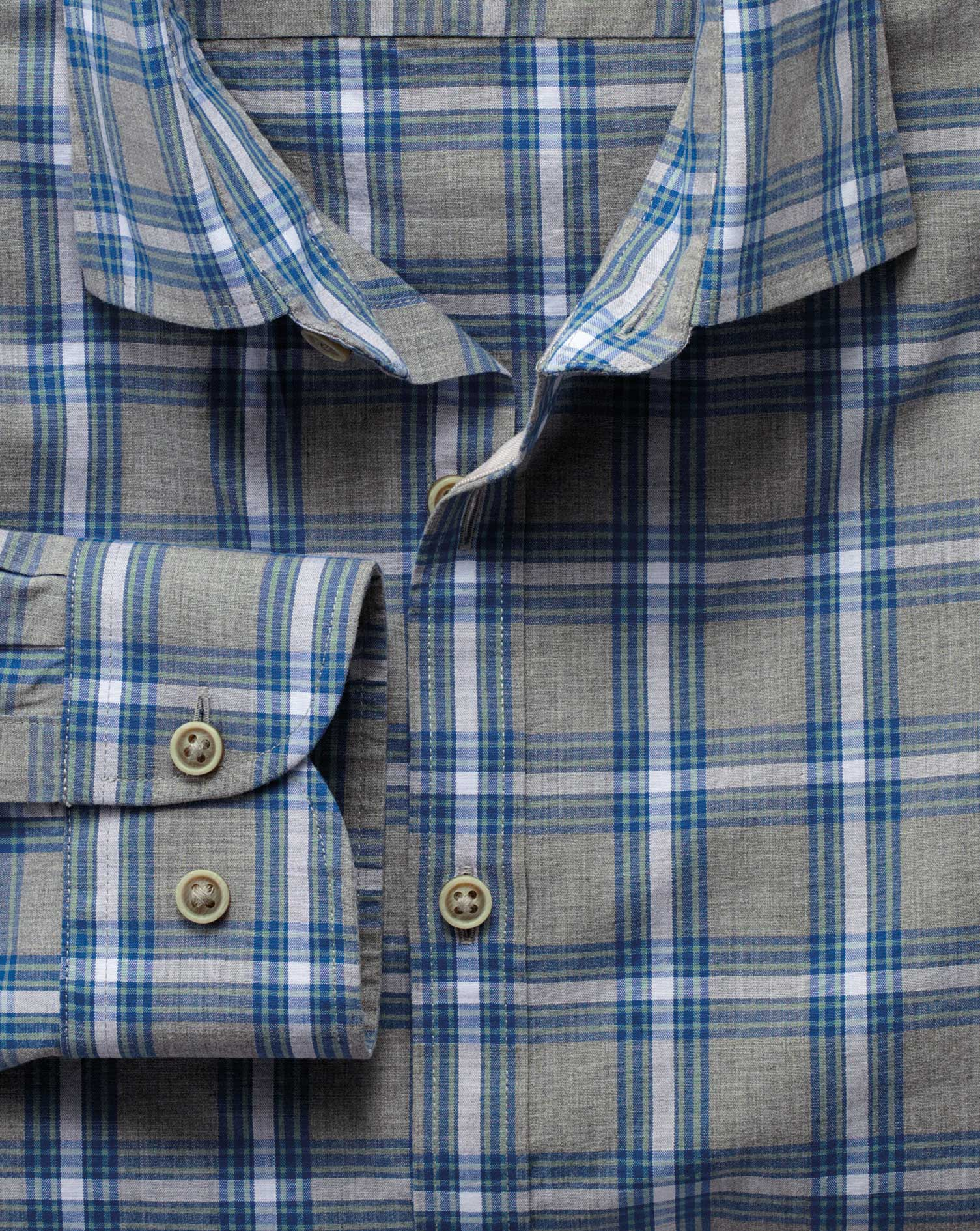 Extra Slim Fit Grey and Sky Blue Check Heather Cotton Shirt Single Cuff Size Small by Charles Tyrwhi
