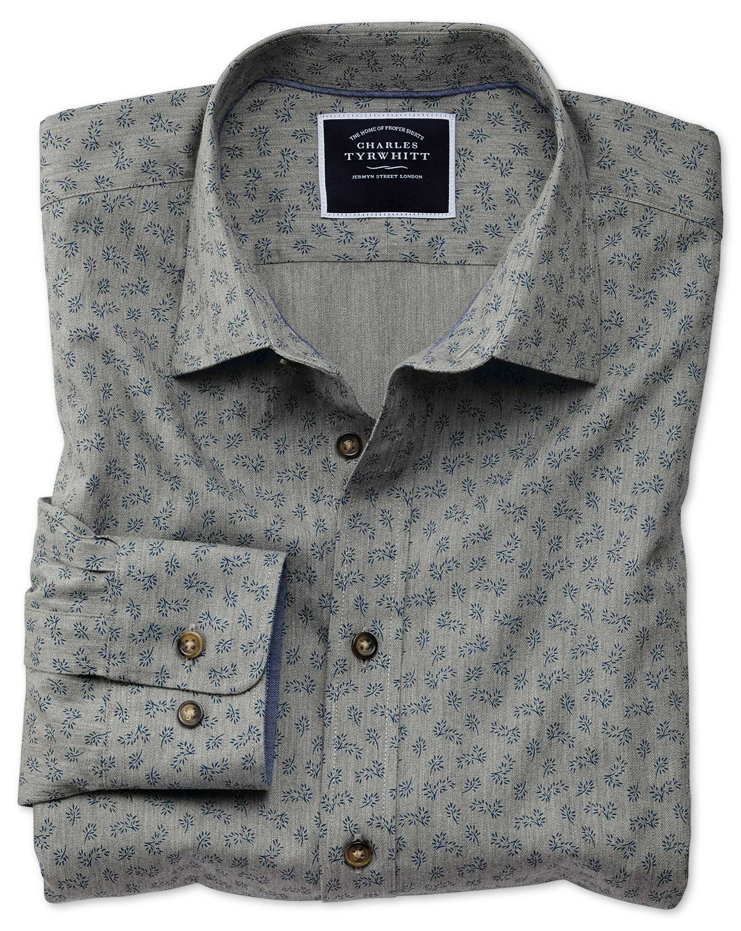 slim fit grey floral print cotton casual shirt single cuff size xs by charles tyrwhitt