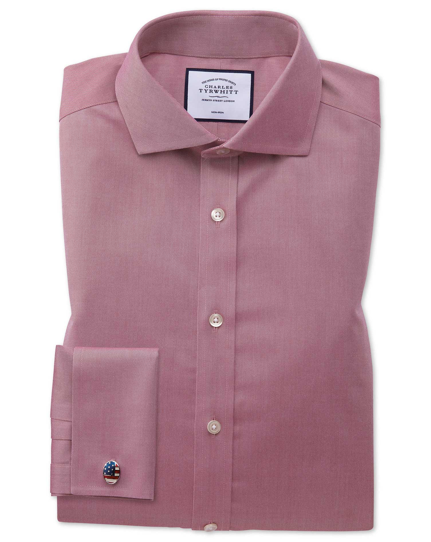 Slim Fit Non-Iron Cutaway Collar Red Twill Cotton Formal Shirt Single Cuff Size 15.5/37 by Charles T