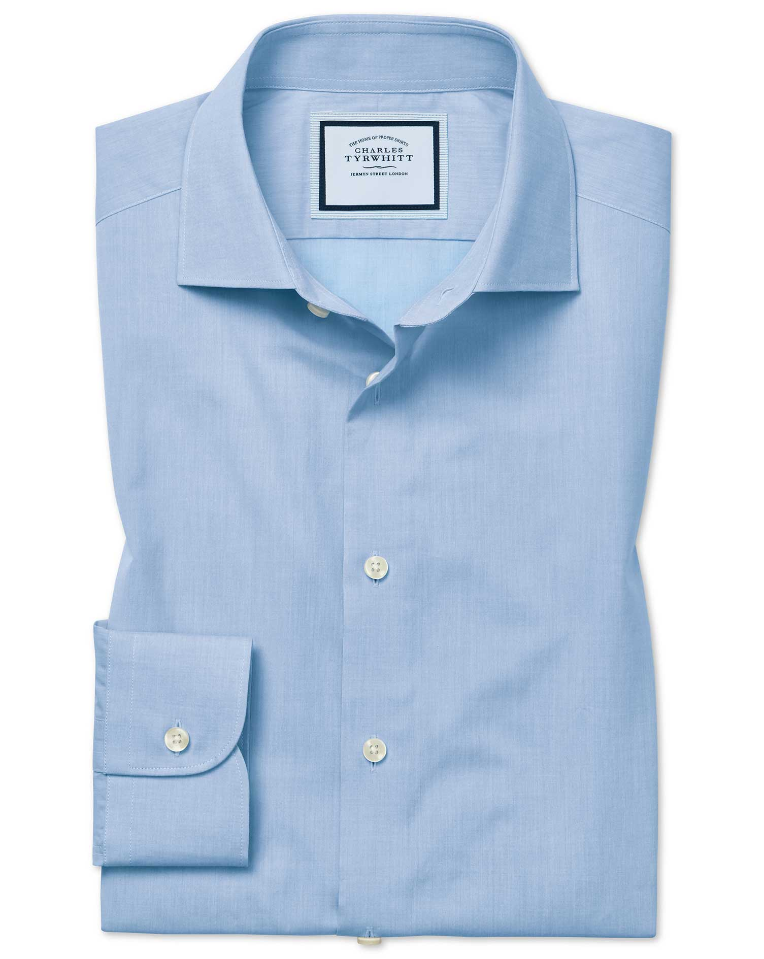 Slim Fit Peached Egyptian Cotton Sky Blue Formal Shirt Single Cuff Size 15/34 by Charles Tyrwhitt