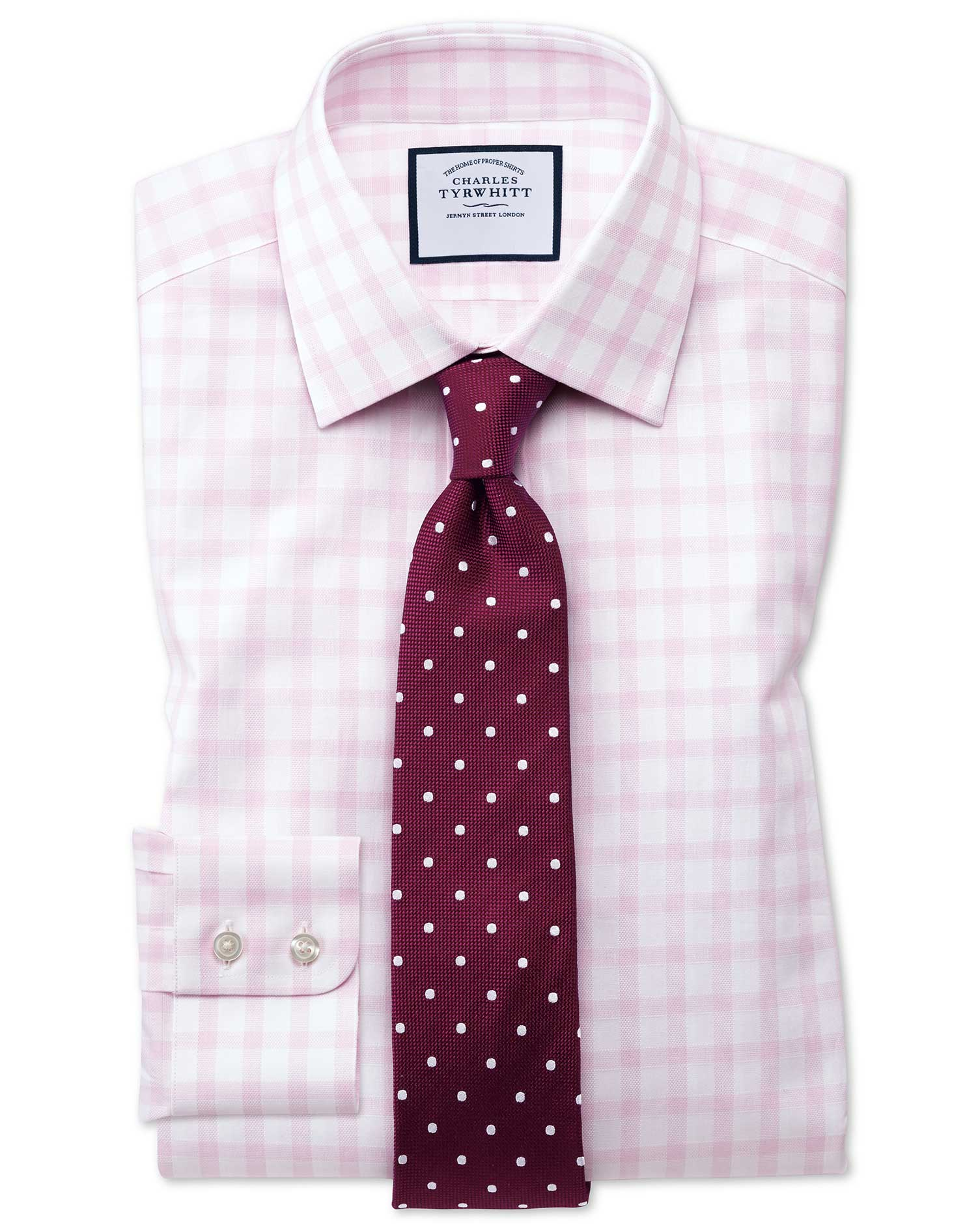 Slim Fit Windowpane Check Pink Cotton Formal Shirt Single Cuff Size 17.5/35 by Charles Tyrwhitt