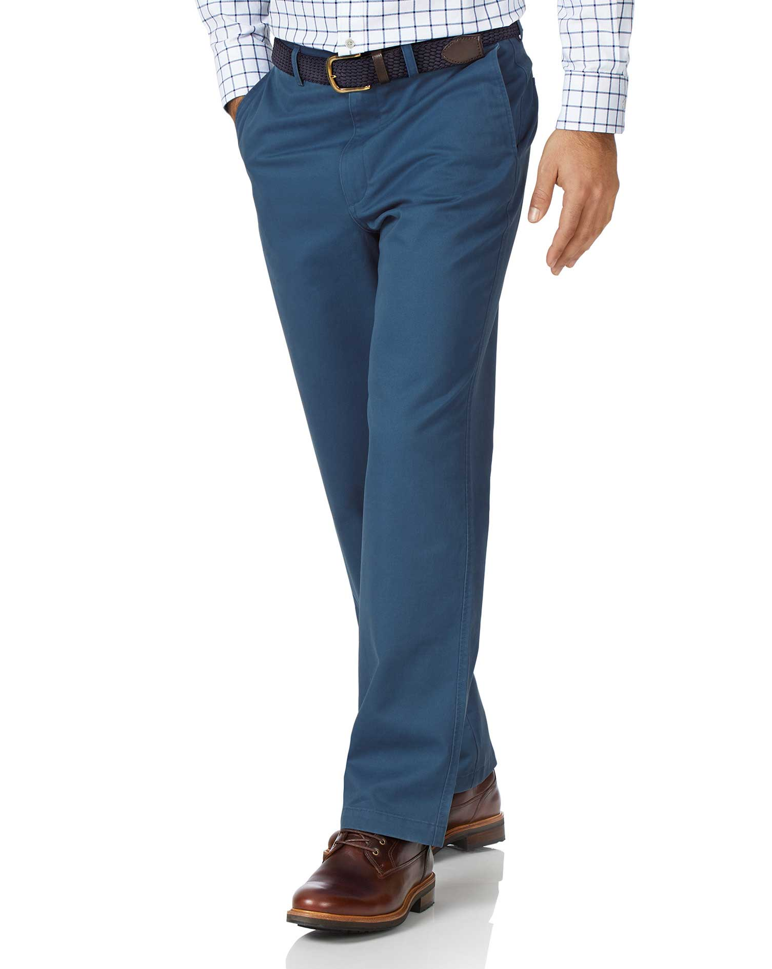 Bright Blue Classic Fit Flat Front Washed Cotton Chino Trousers Size W40 L38 by Charles Tyrwhitt