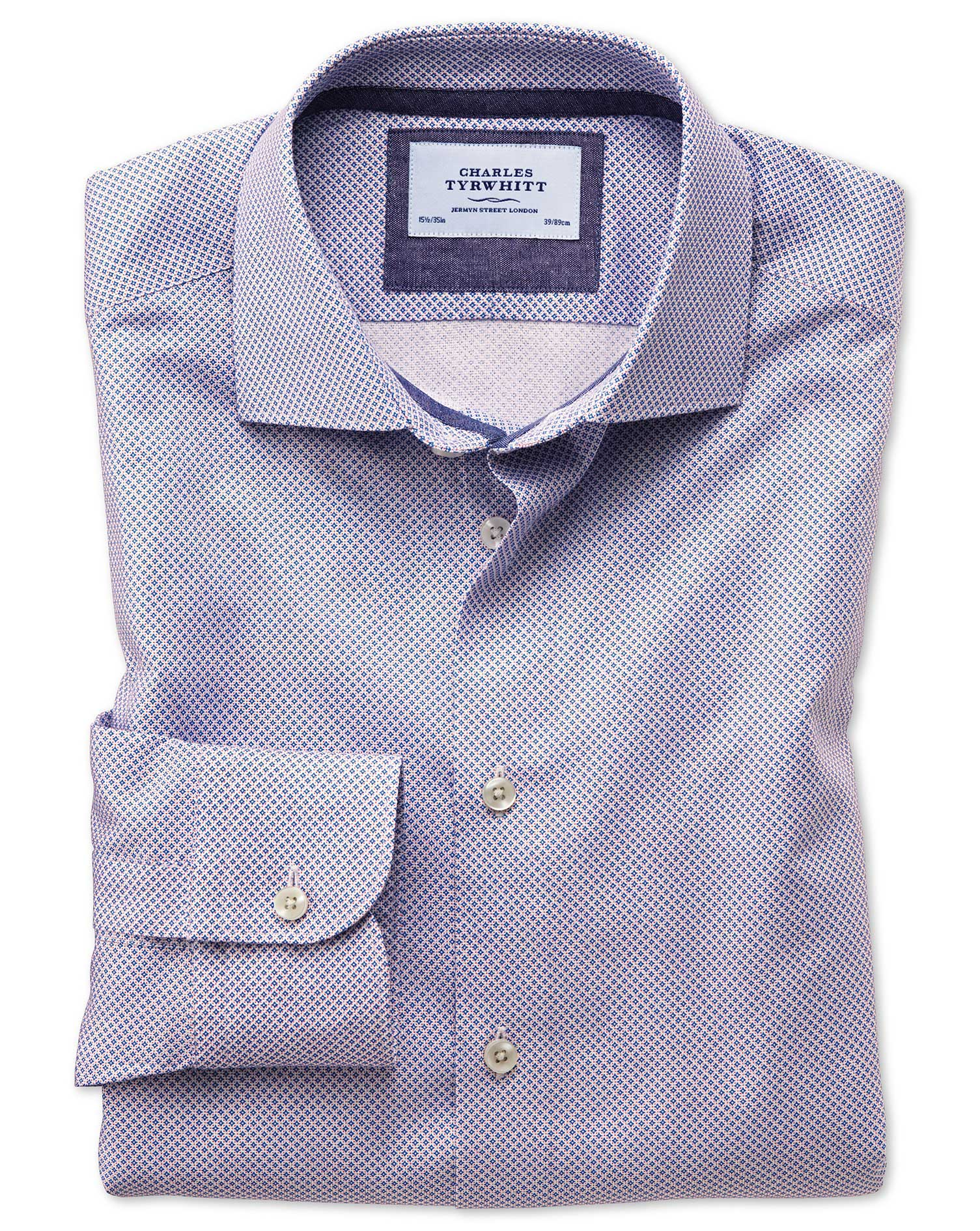 Classic Fit Semi-Cutaway Business Casual Motif Print Red and Blue Egyptian Cotton Formal Shirt Singl