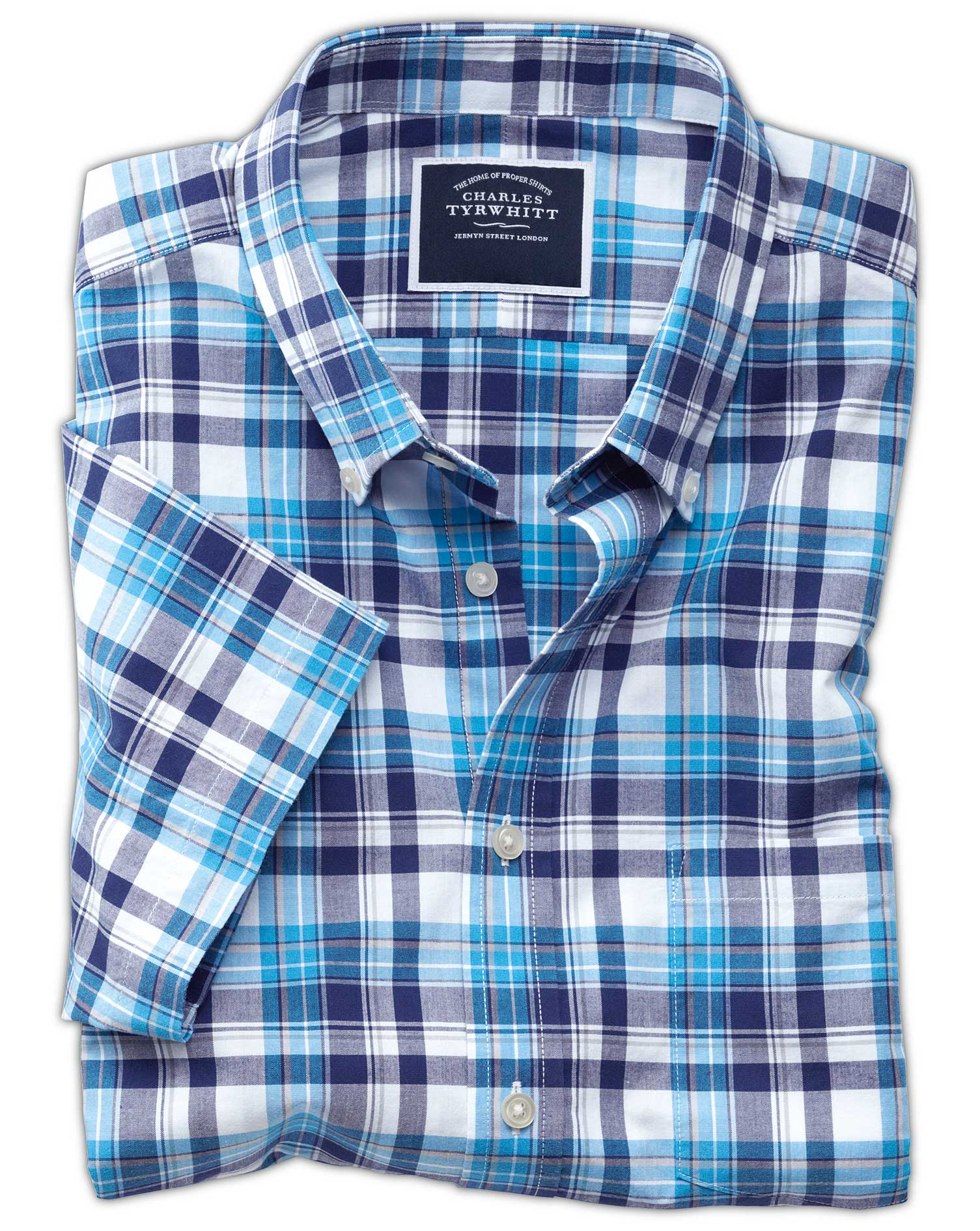Classic Fit Poplin Short Sleeve Navy Multi Cotton Shirt Single Cuff Size XXXL by Charles Tyrwhitt