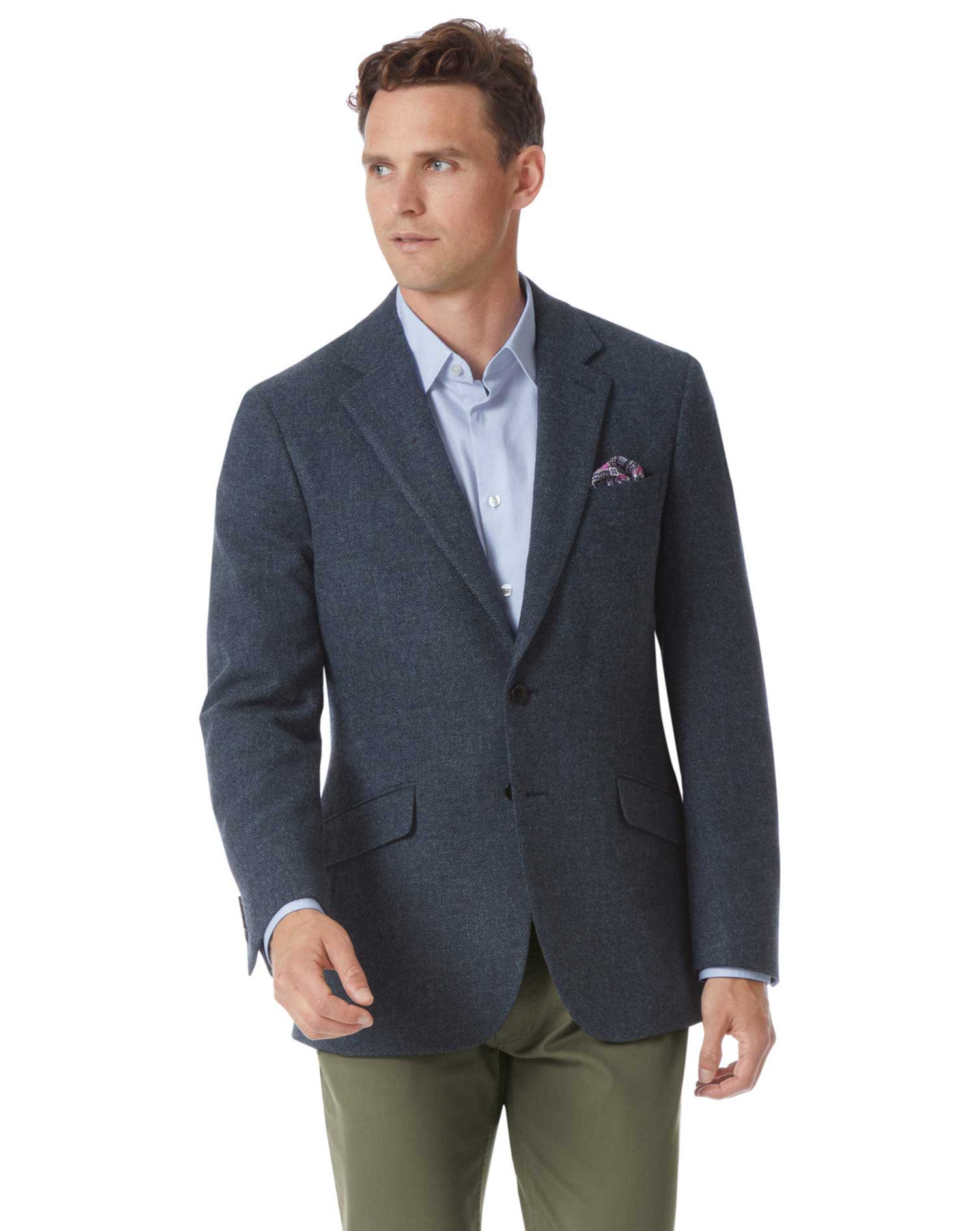 Slim Fit Indigo Blue Wool Jacket Size 42 Regular by Charles Tyrwhitt