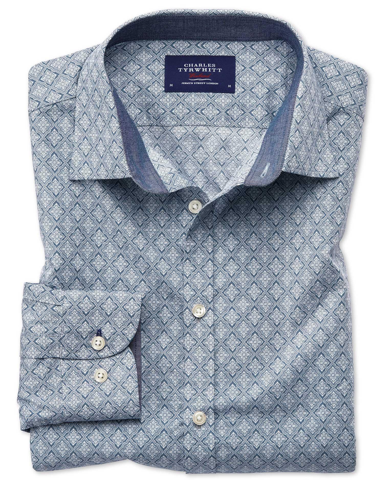 Slim Fit Light Grey Diamond Print Cotton Shirt Single Cuff Size XS by Charles Tyrwhitt