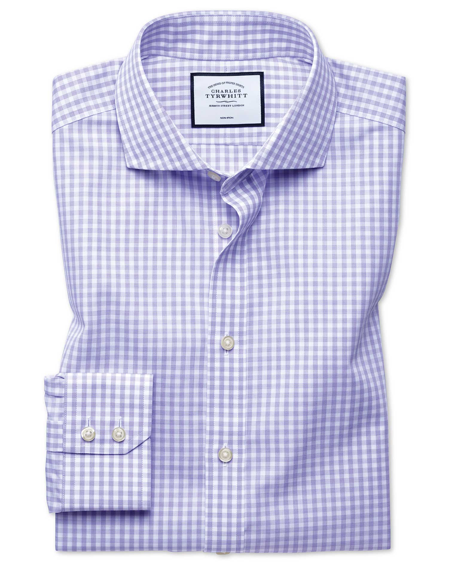 Classic Fit Non-Iron Purple Check Tyrwhitt Cool Cotton Formal Shirt Single Cuff Size 15.5/34 by Char