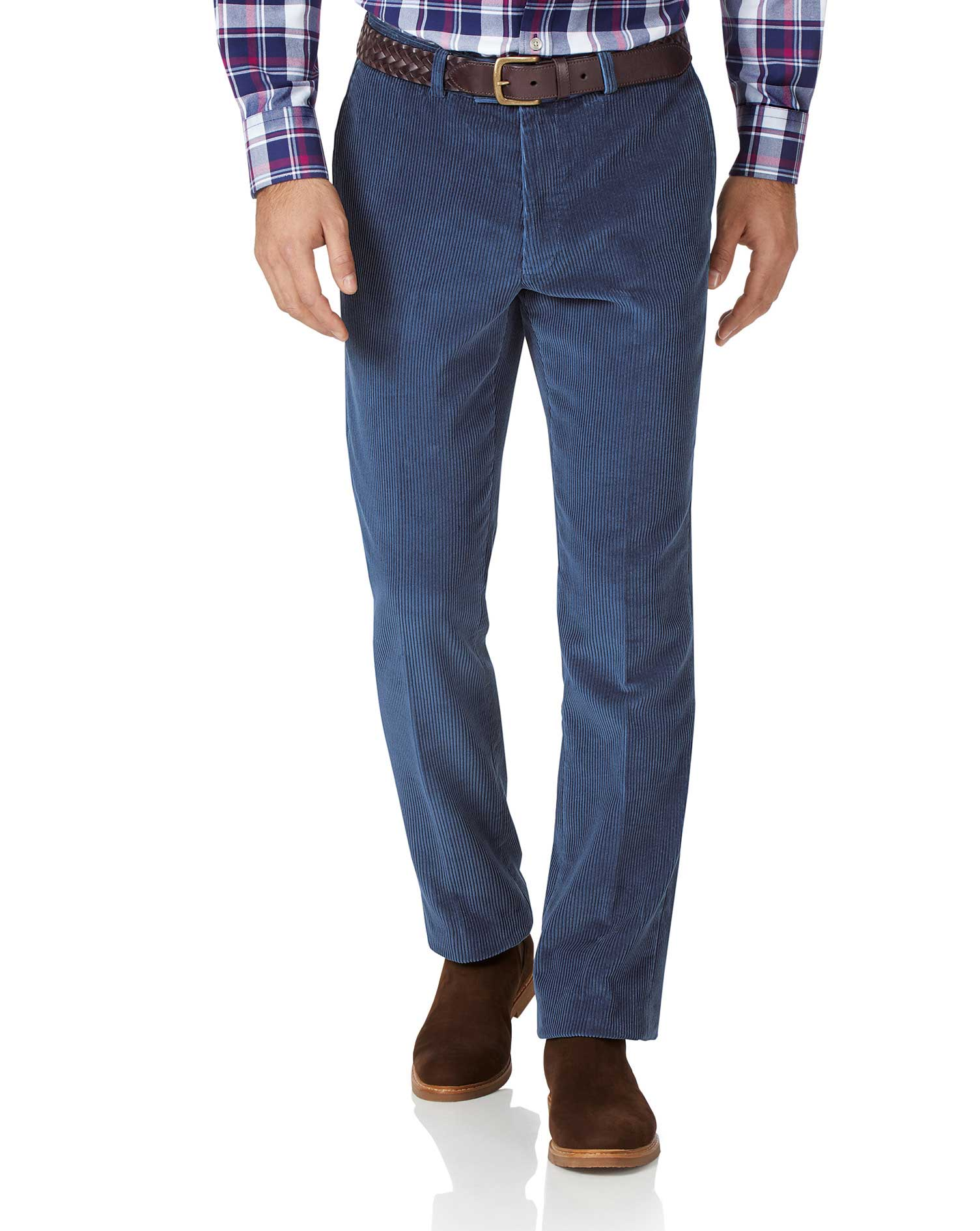 Airforce Blue Slim Fit Jumbo Corduroy Trousers Size W36 L34 by Charles Tyrwhitt